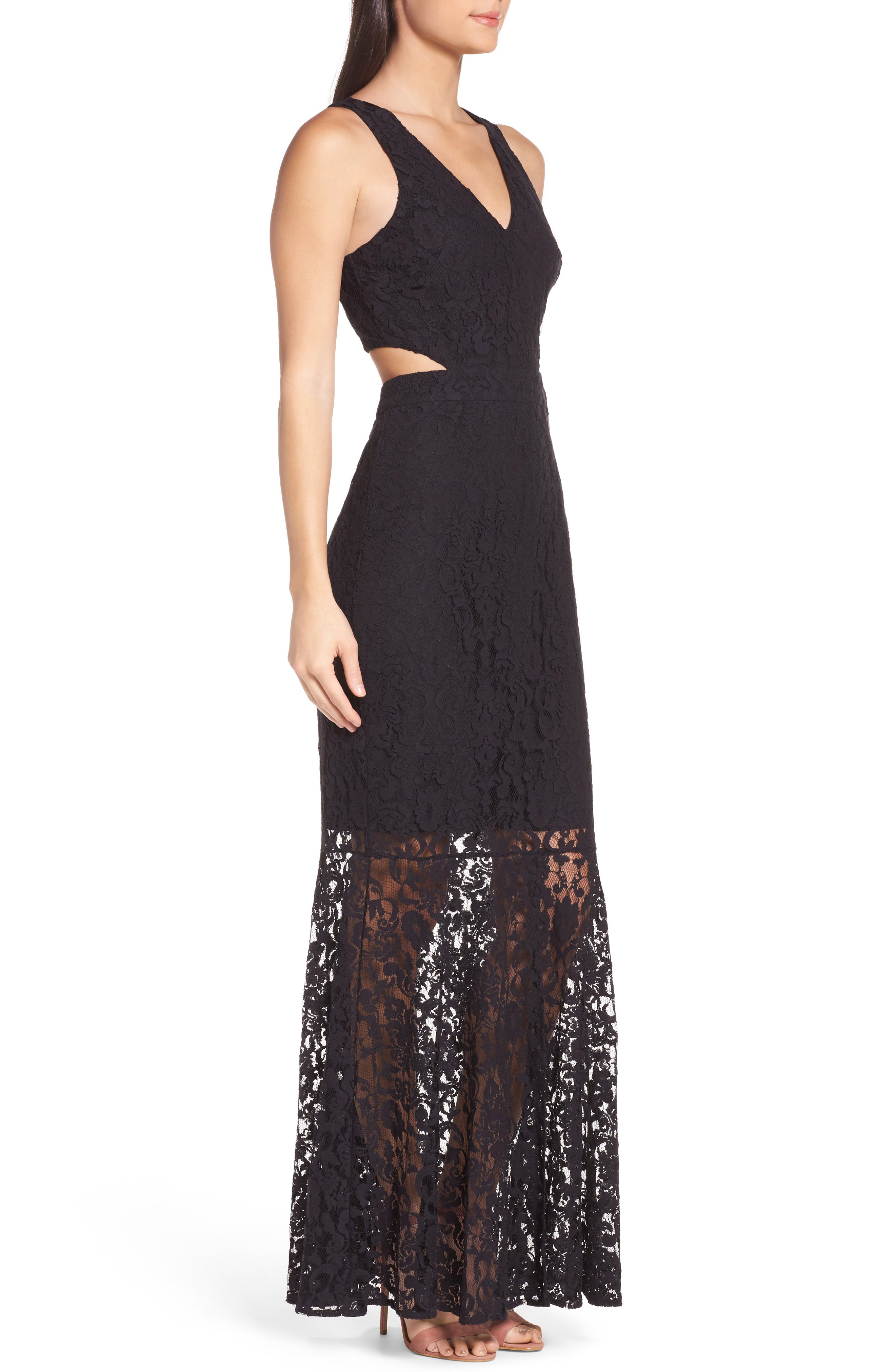 Beautiful People Cutout Lace Gown,                             Alternate thumbnail 4, color,                             Black