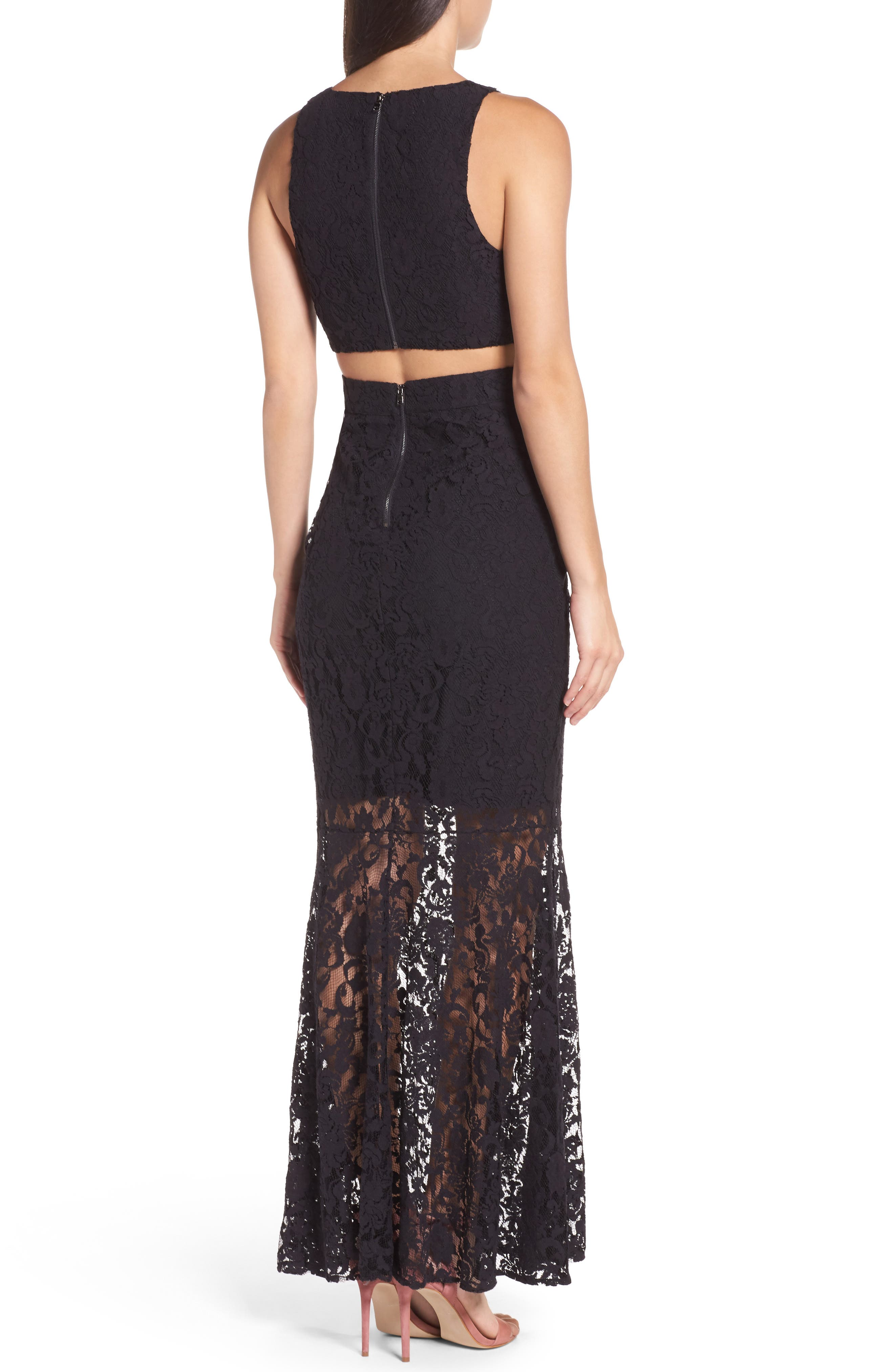 Beautiful People Cutout Lace Gown,                             Alternate thumbnail 3, color,                             Black