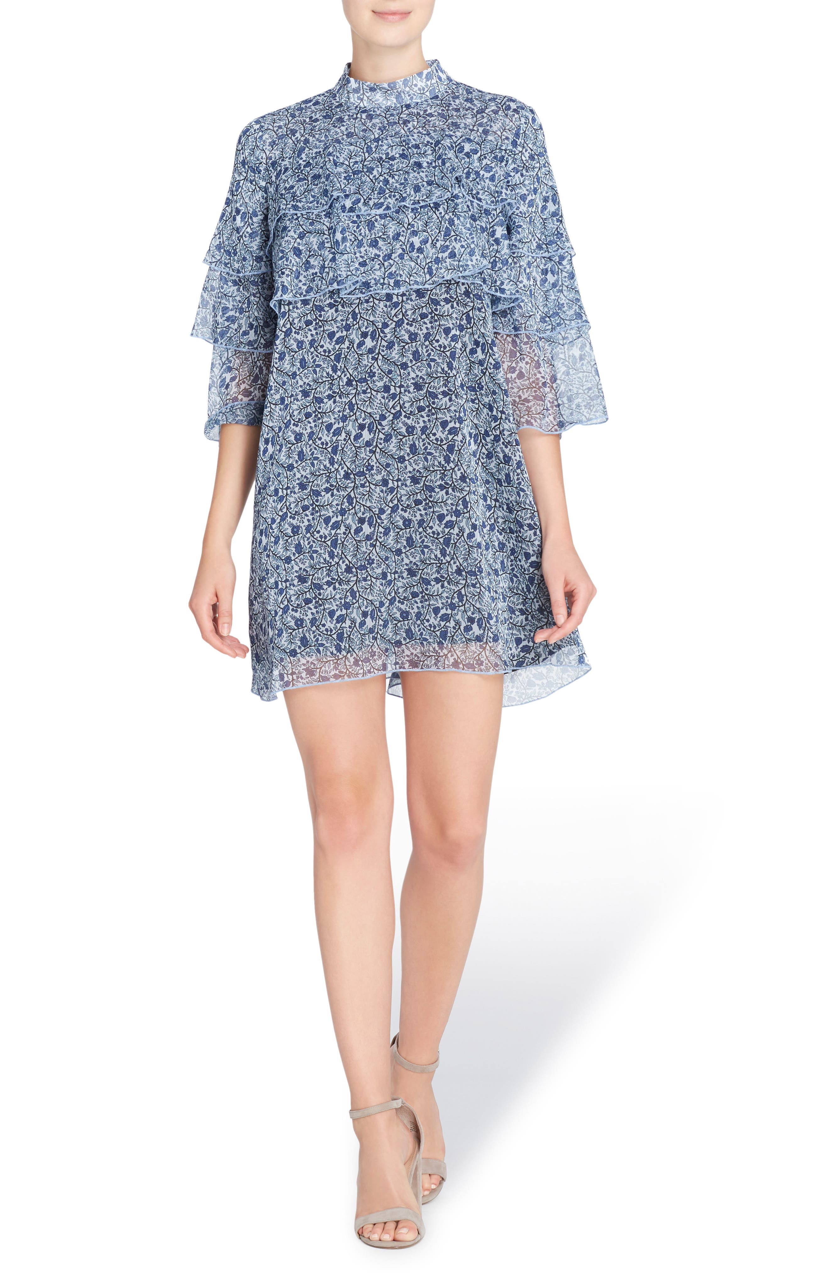 Cass Print Chiffon Dress,                         Main,                         color, Ditzy Wallpaper Blue