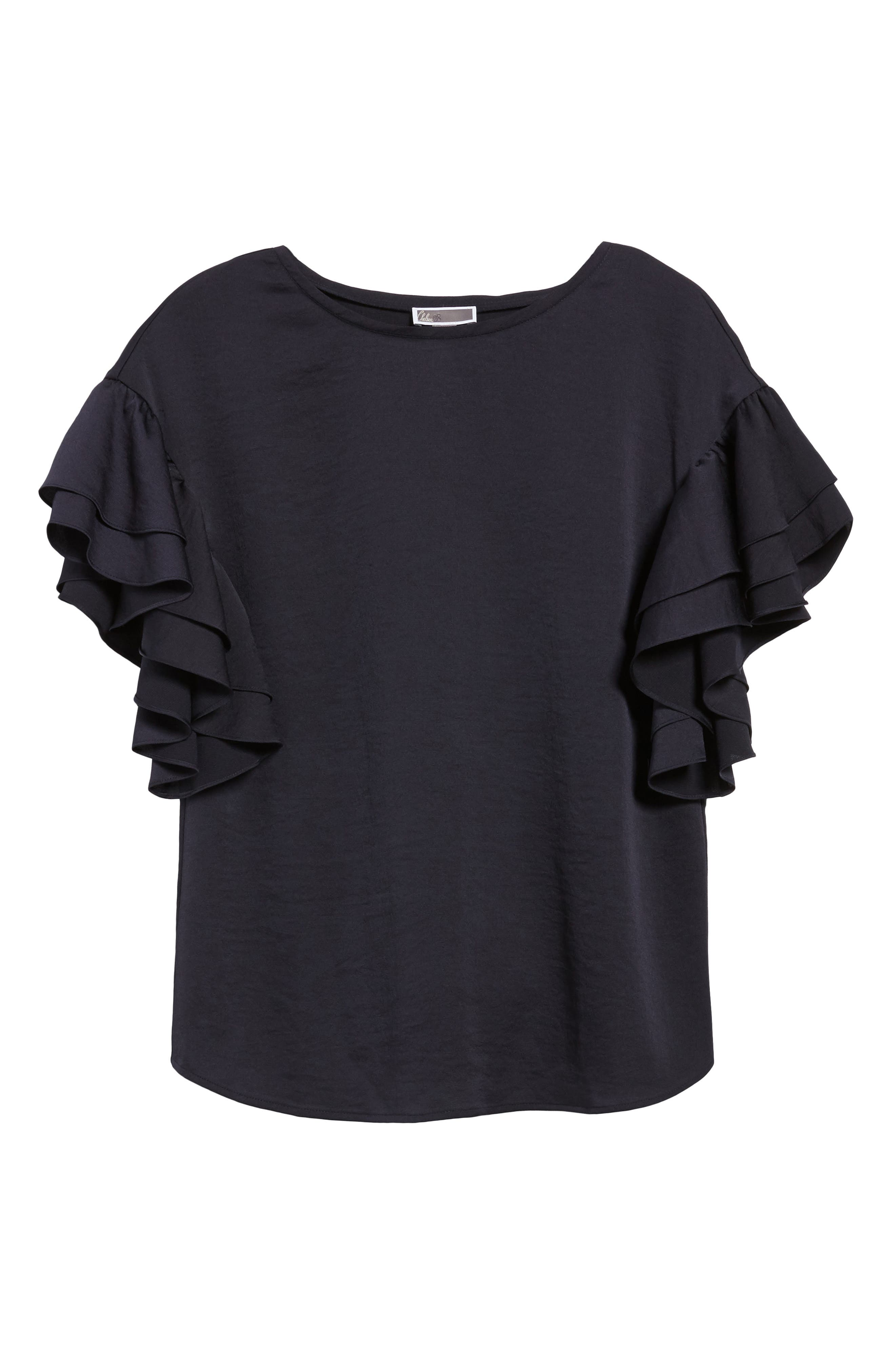 Ruffle Sleeve Top,                             Alternate thumbnail 6, color,                             Navy Well