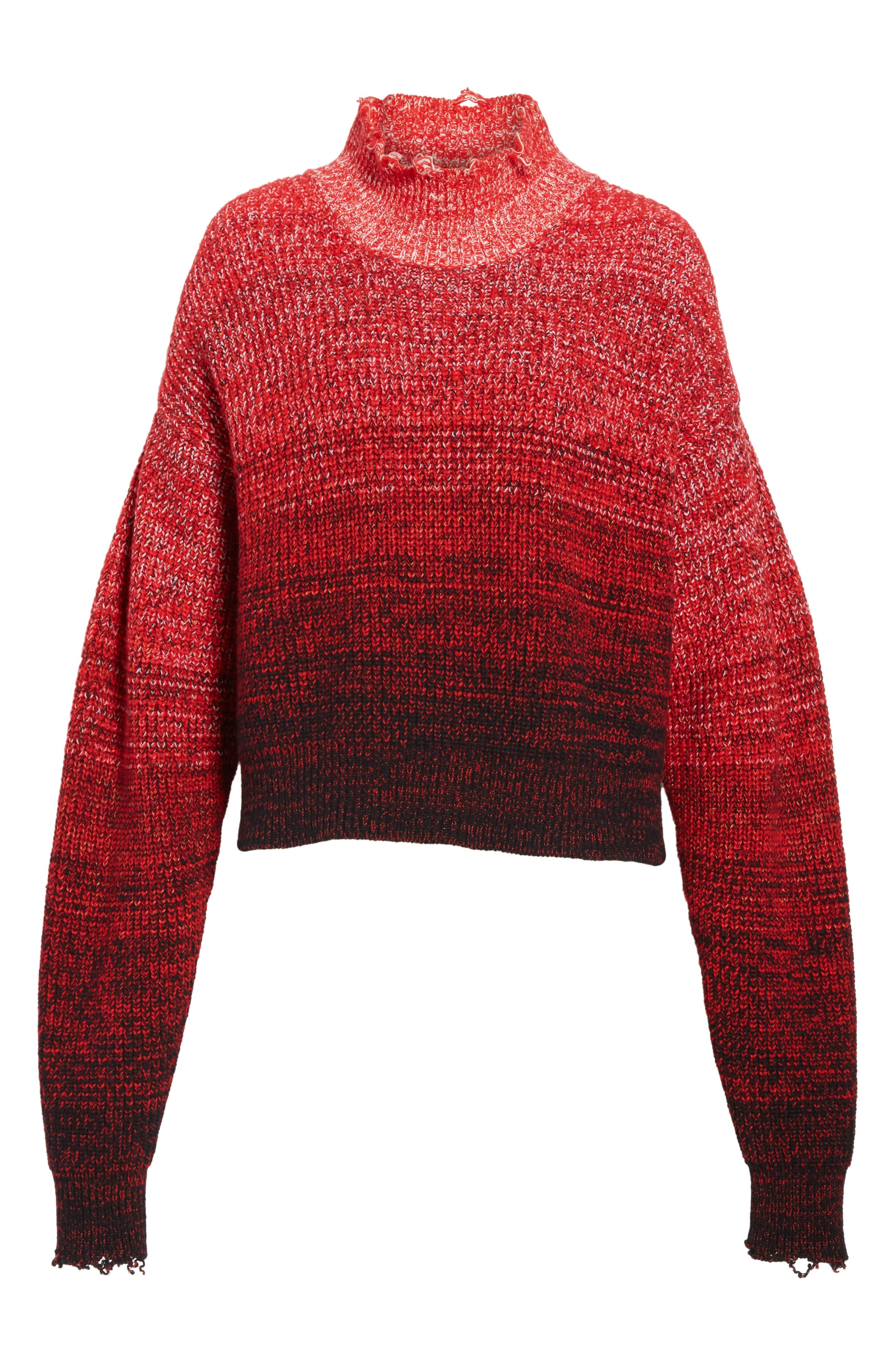 Distressed Marled Patchwork Turtleneck Sweater,                             Alternate thumbnail 6, color,                             Siren