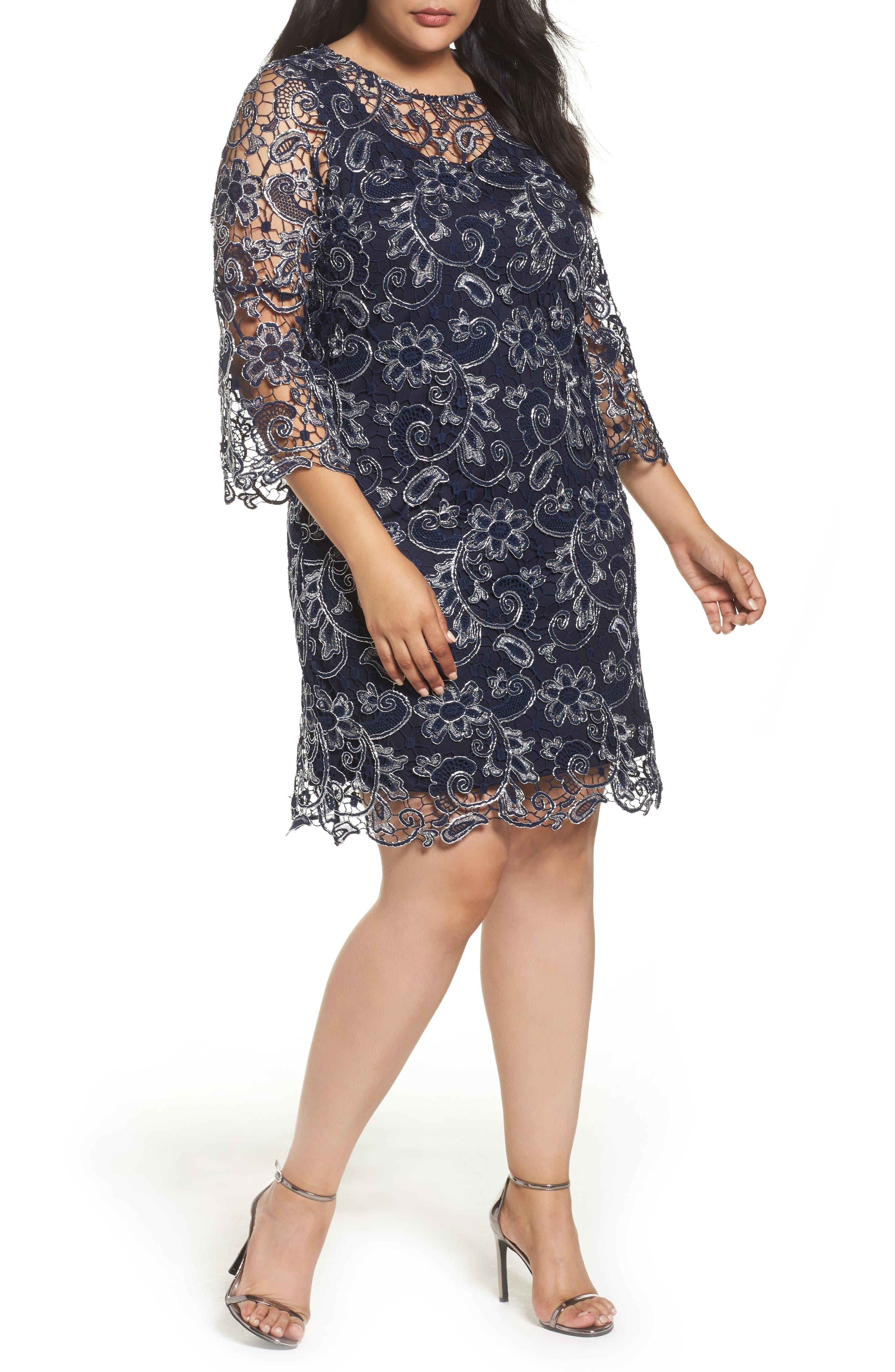 Alternate Image 1 Selected - Marina Bell Sleeve Lace Shift Dress (Plus Size)