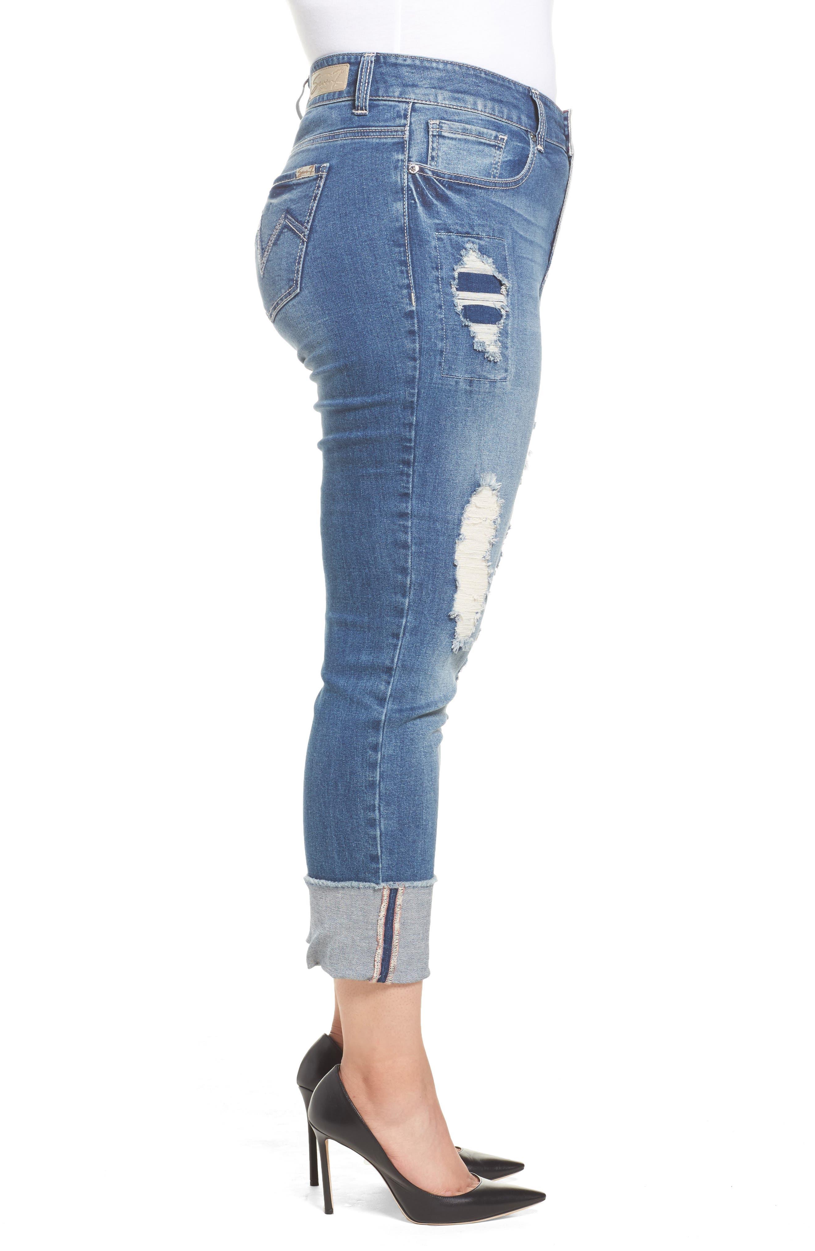 Alternate Image 3  - Seven7 Distressed Slim Raw Hem Cuffed Jeans (Concorde) (Plus Size)