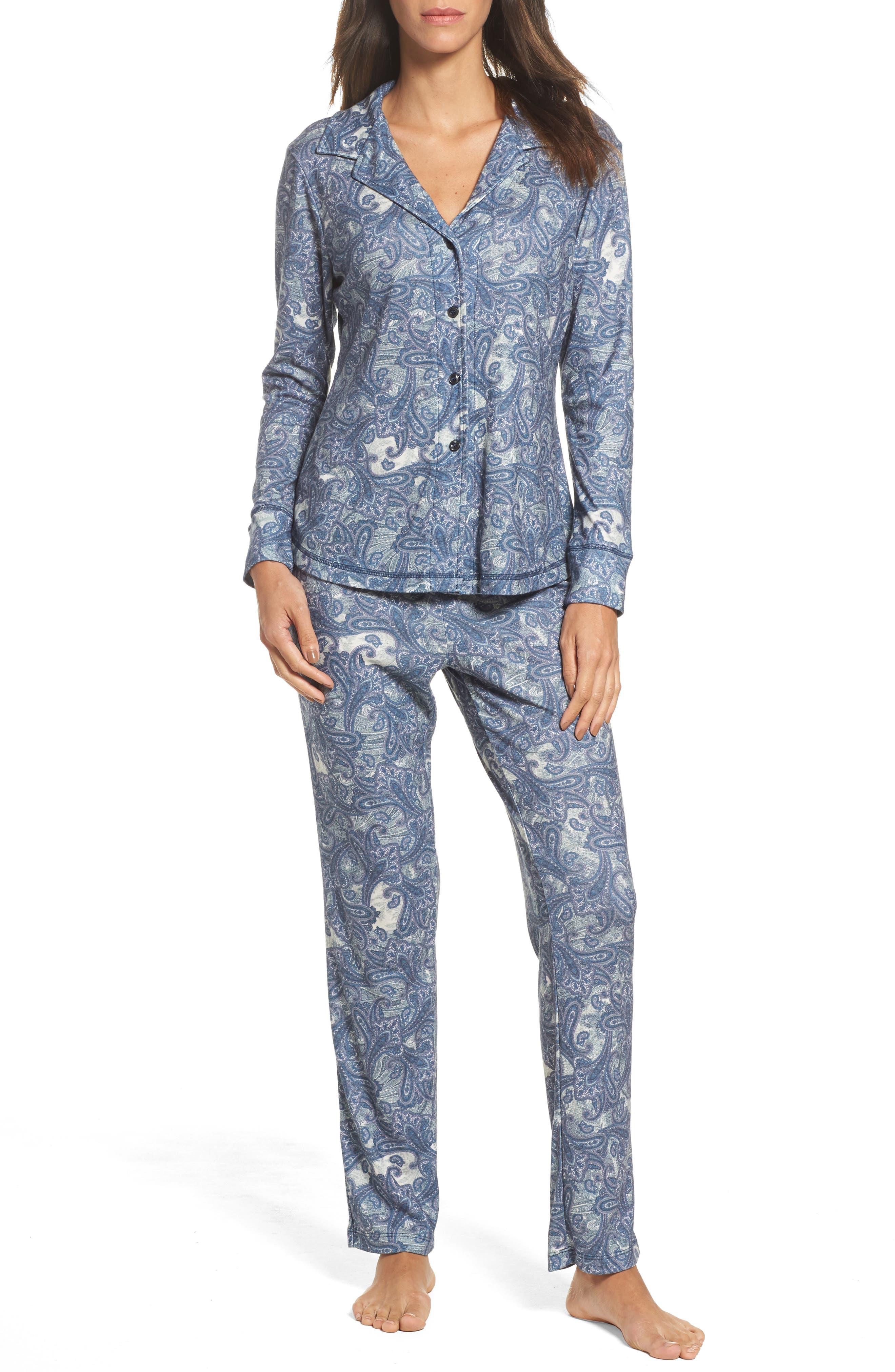 Clara Flannel Pajamas,                         Main,                         color, Blue