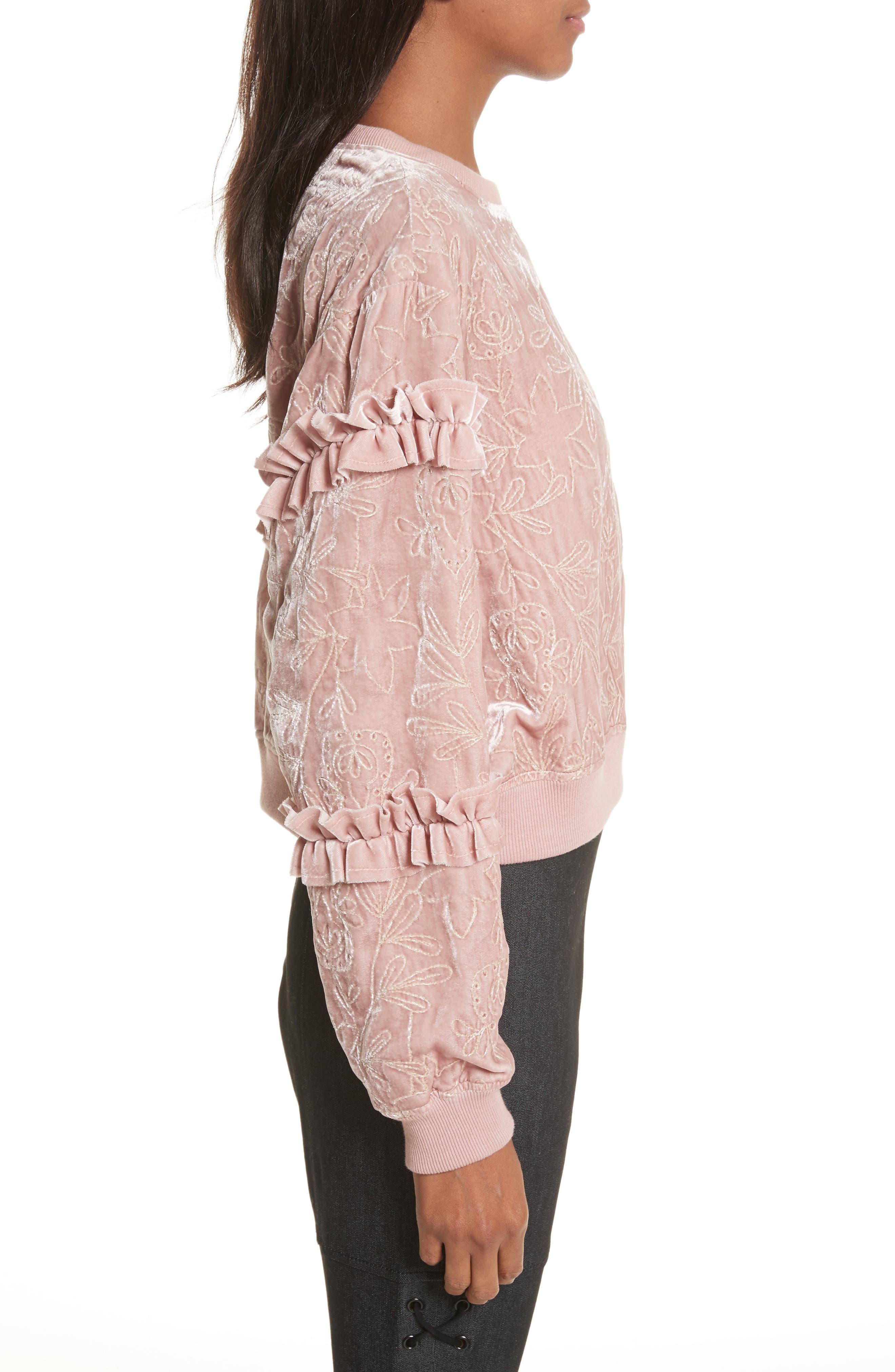 Nara Embroidered Velvet Sweatshirt,                             Alternate thumbnail 3, color,                             Mauve