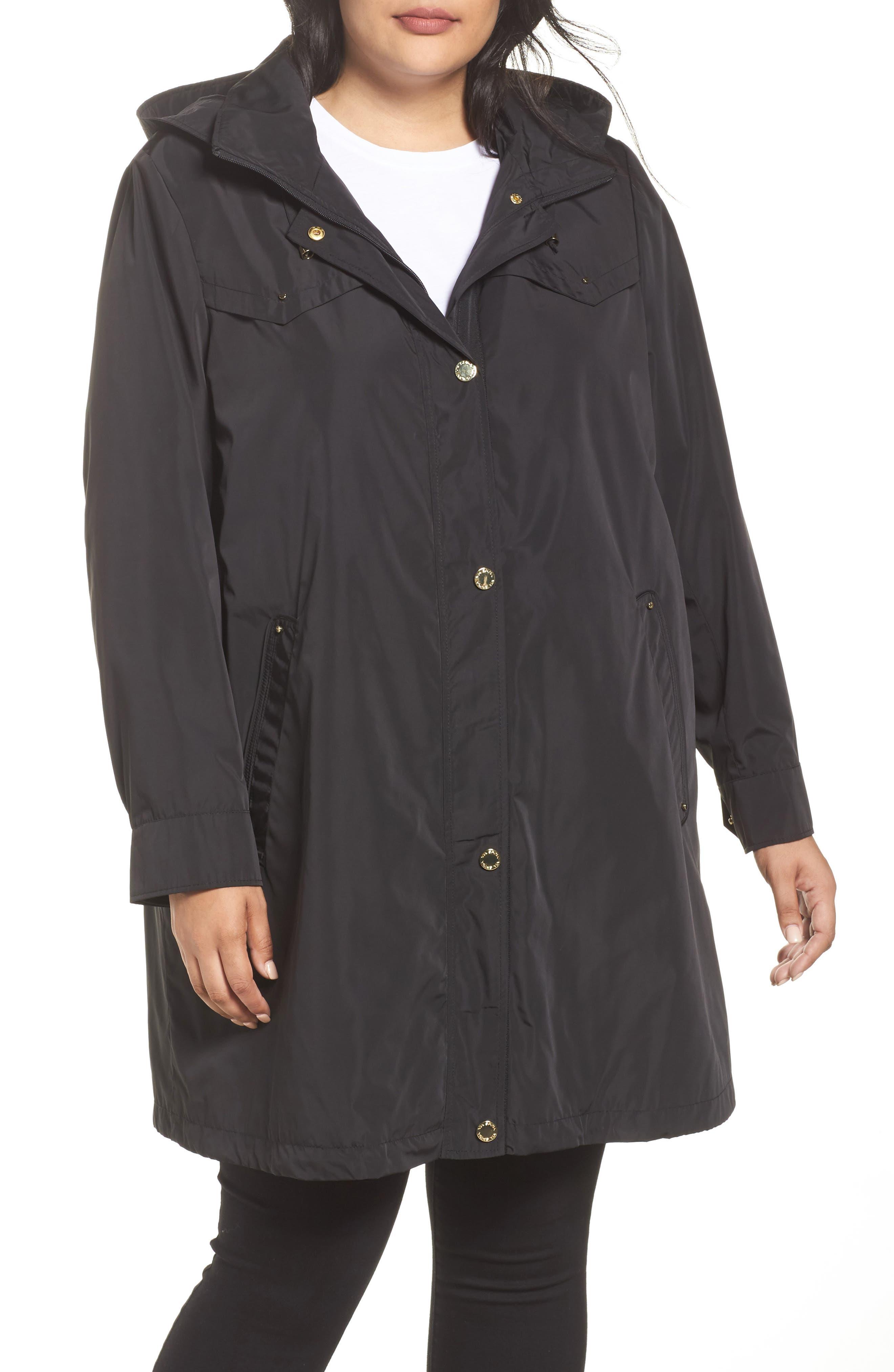 Main Image - Via Spiga Hooded Packable Utility Coat (Plus Size)