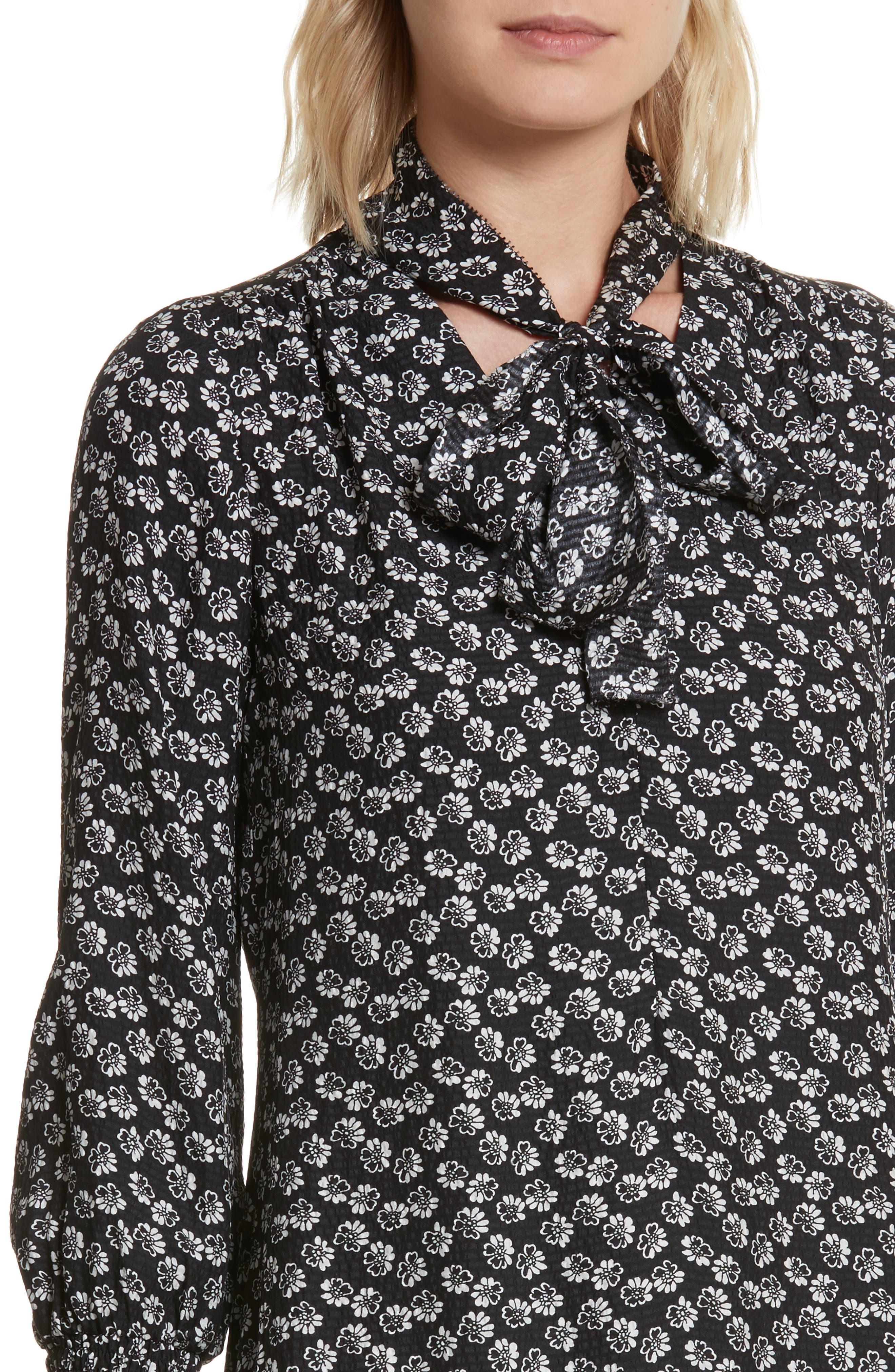 Rue Floral Silk Tie Neck Dress,                             Alternate thumbnail 4, color,                             Black Combo