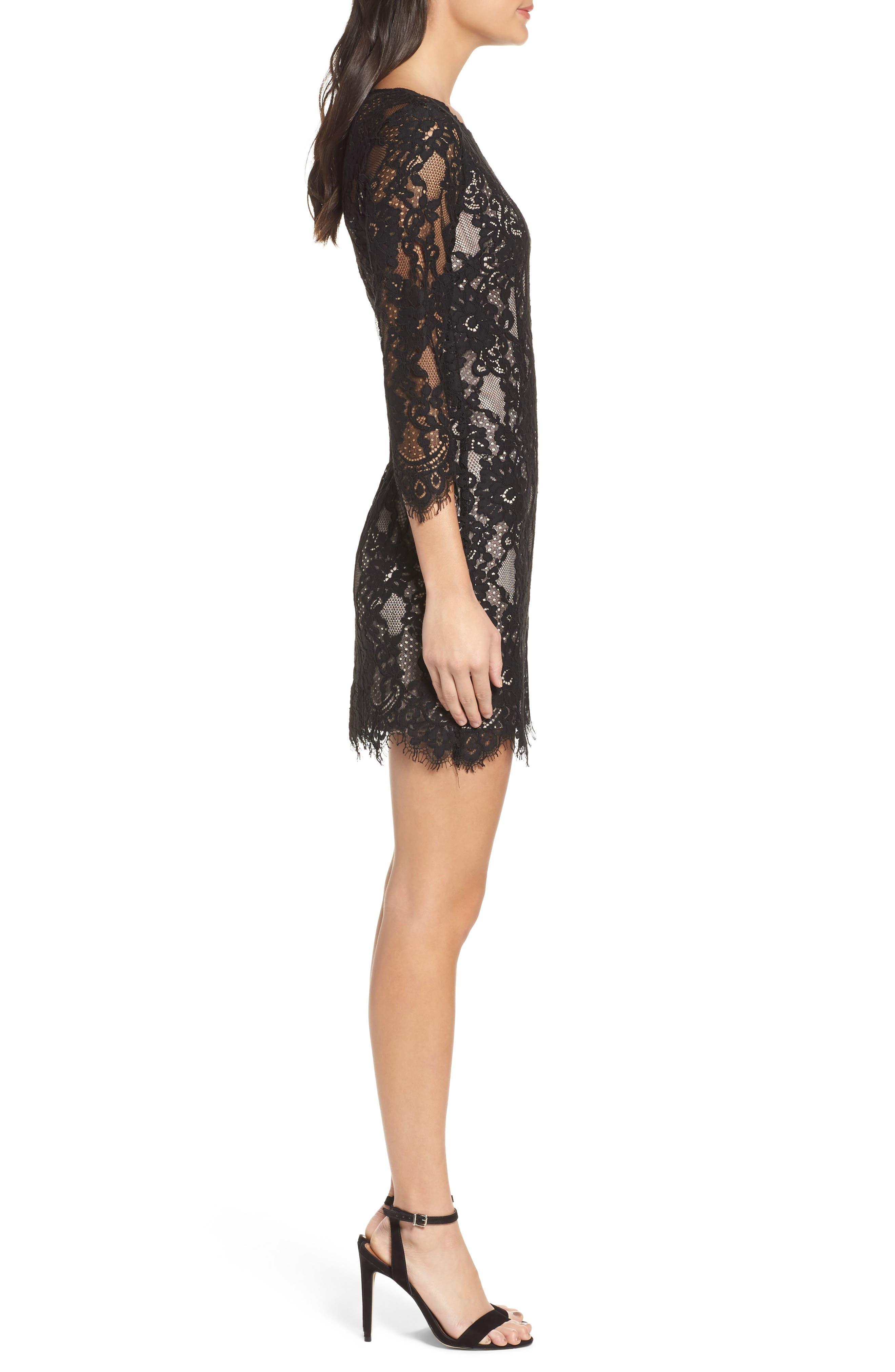 Hale Lace Sheath Dress,                             Alternate thumbnail 3, color,                             Black