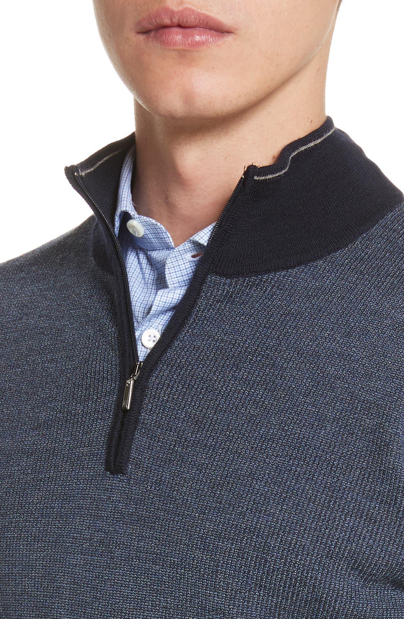 Alternate Image 4  - Canali Quarter Zip Wool Sweater