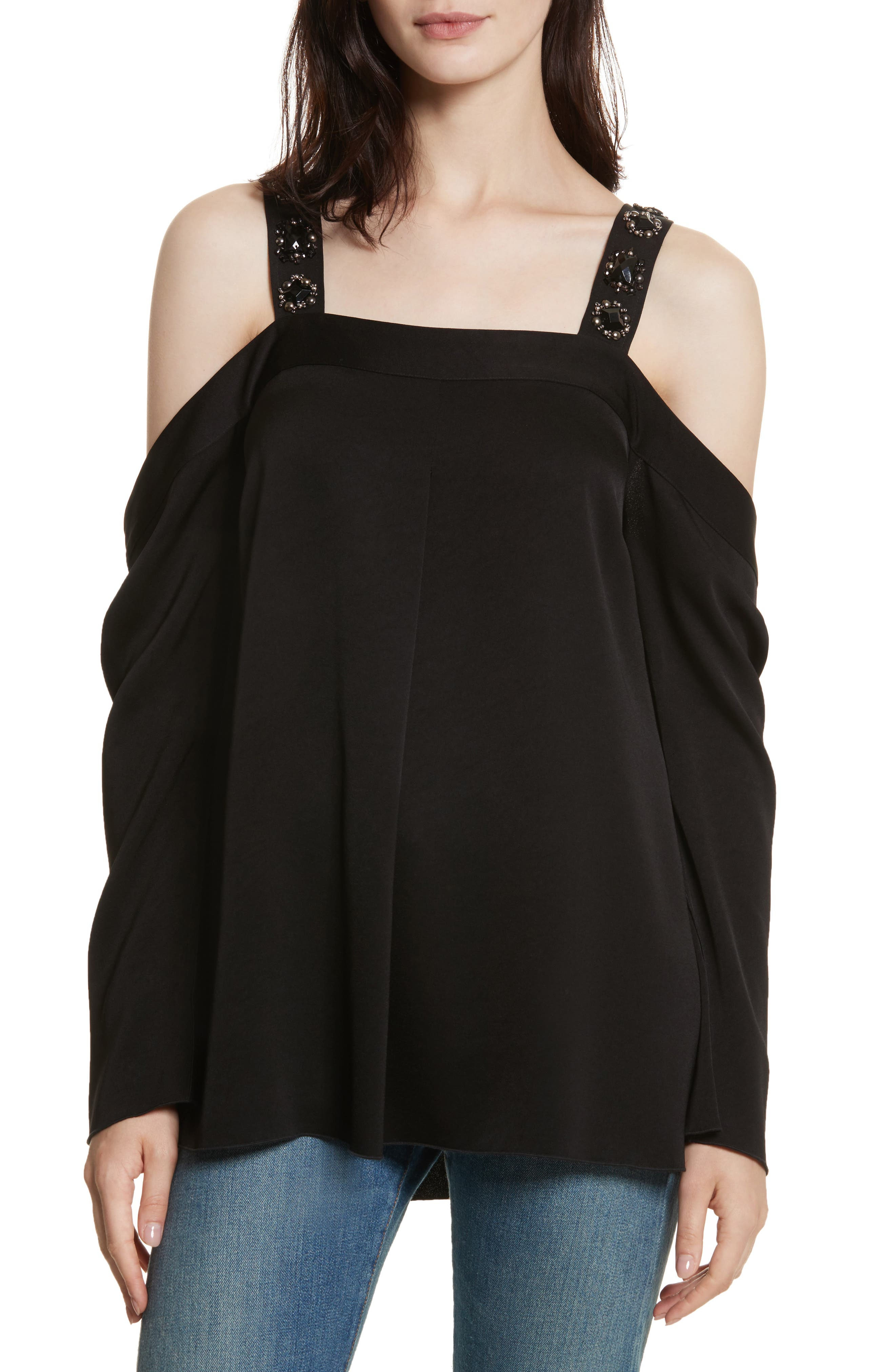 Embellished Cold Shoulder Top,                             Main thumbnail 1, color,                             Black