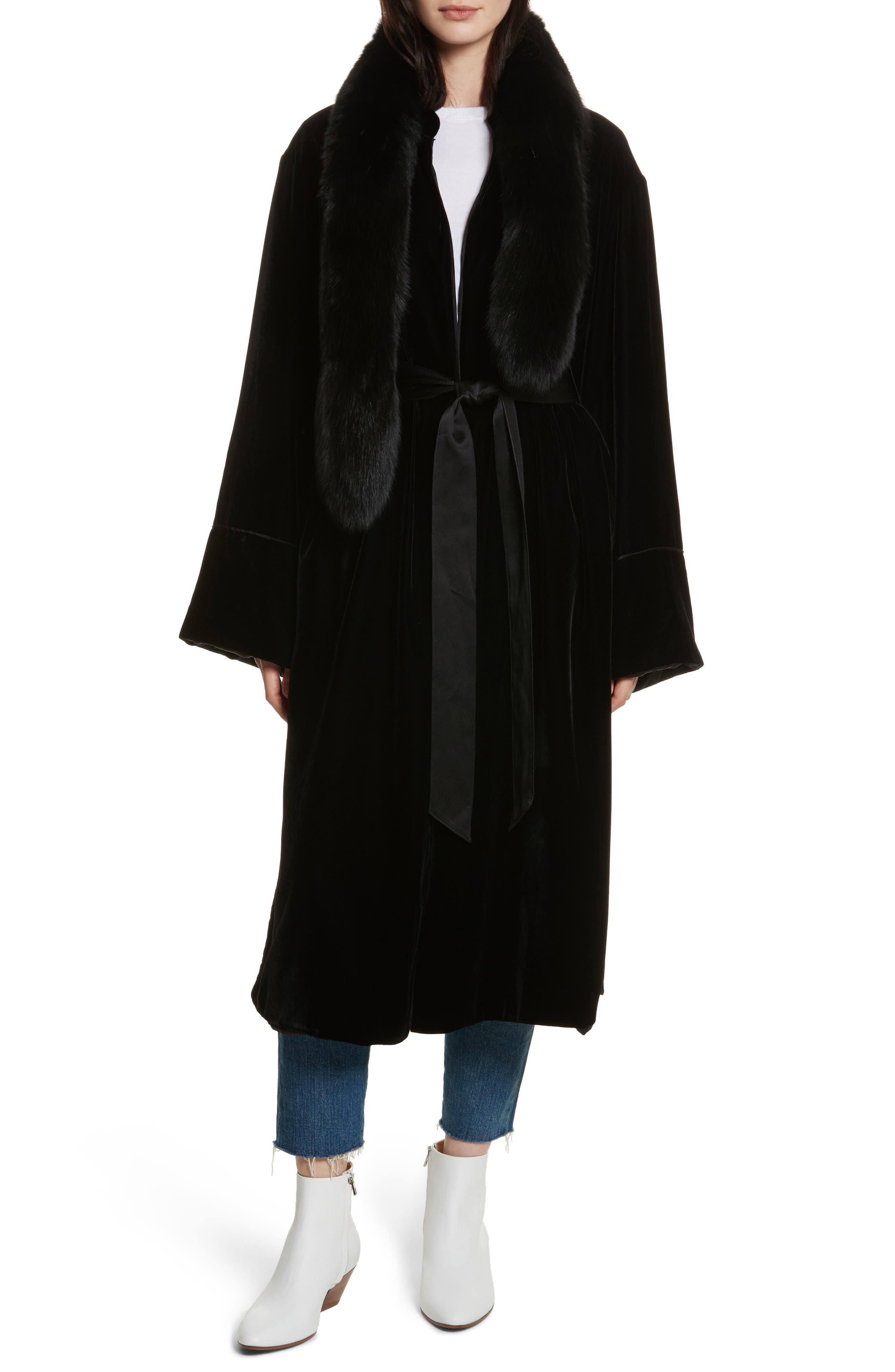 Mitzi Velvet Coat,                             Main thumbnail 1, color,                             Black