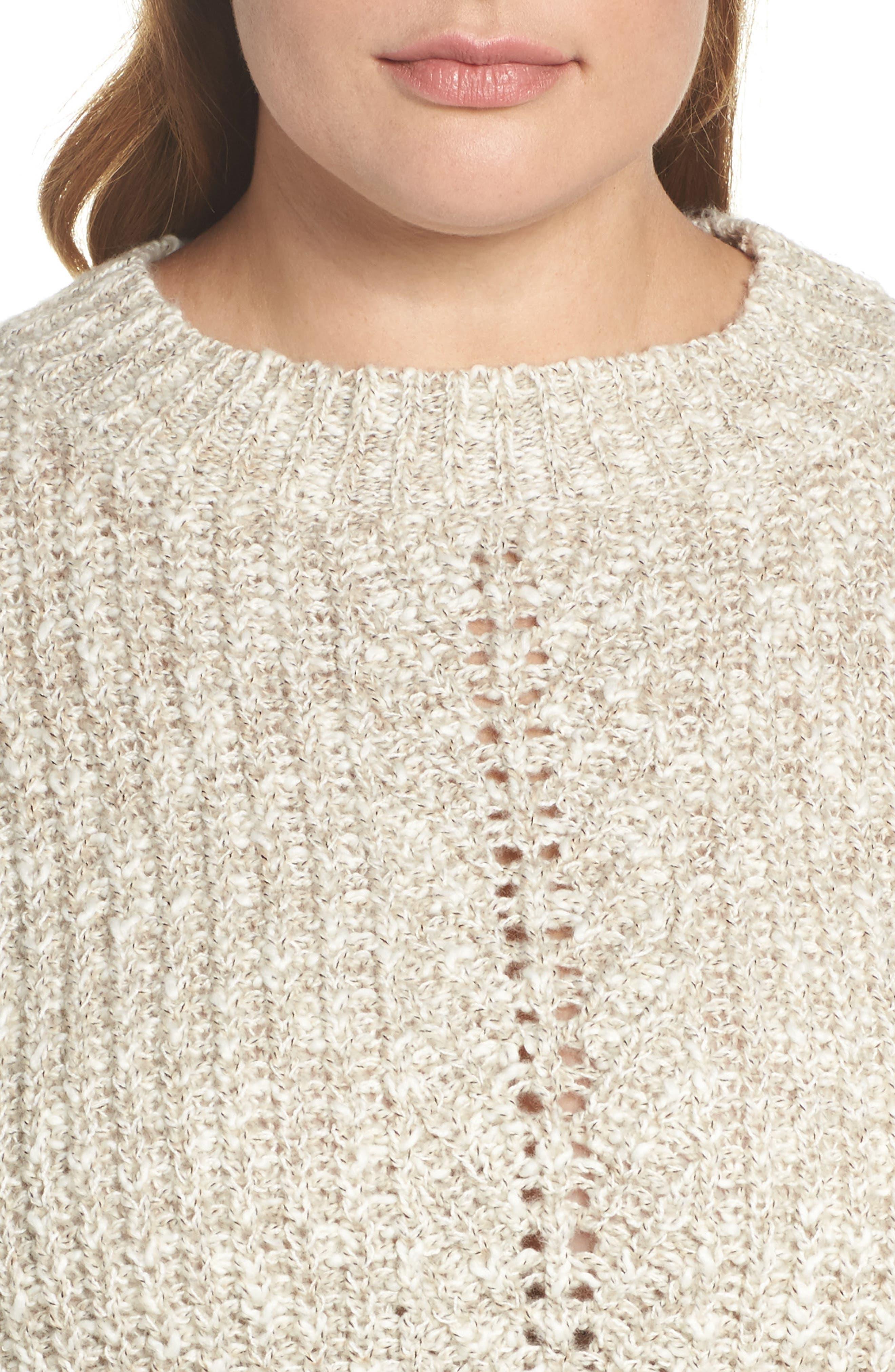 Open Stitch Sweater,                             Alternate thumbnail 4, color,                             Natural Multi