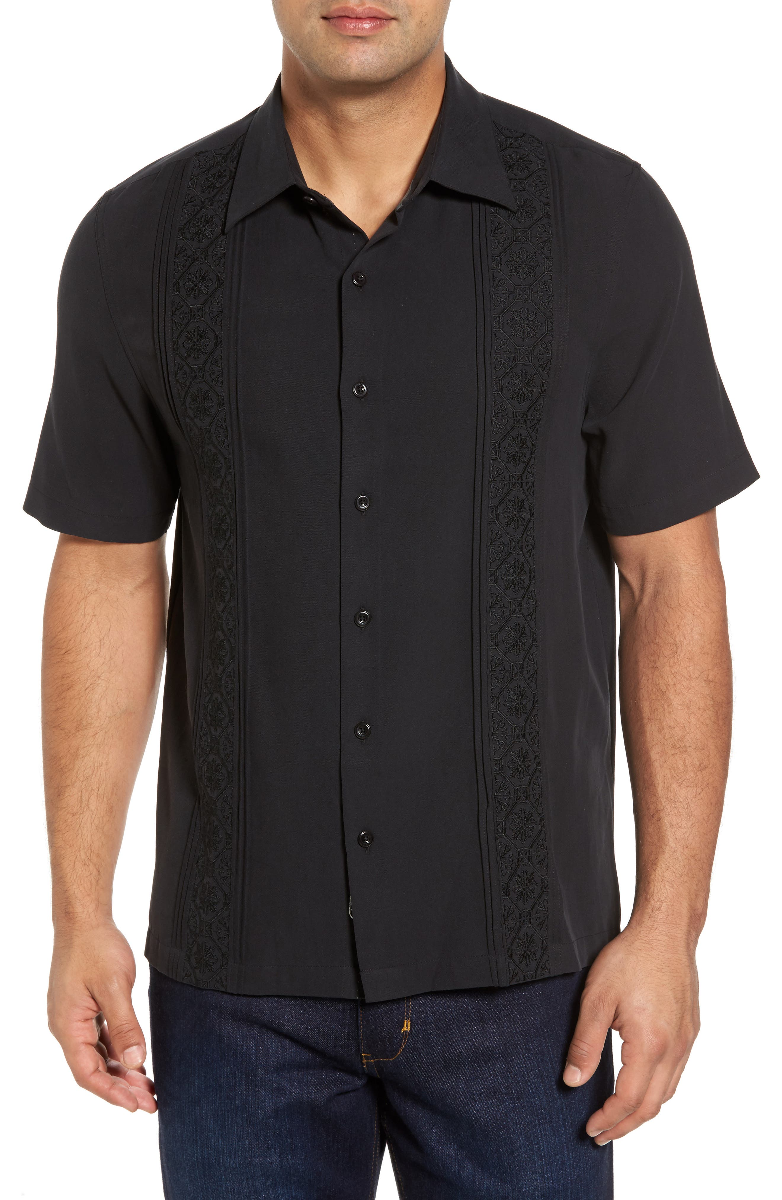 Regular Fit Embroidered Silk Sport Shirt,                             Main thumbnail 1, color,                             Black