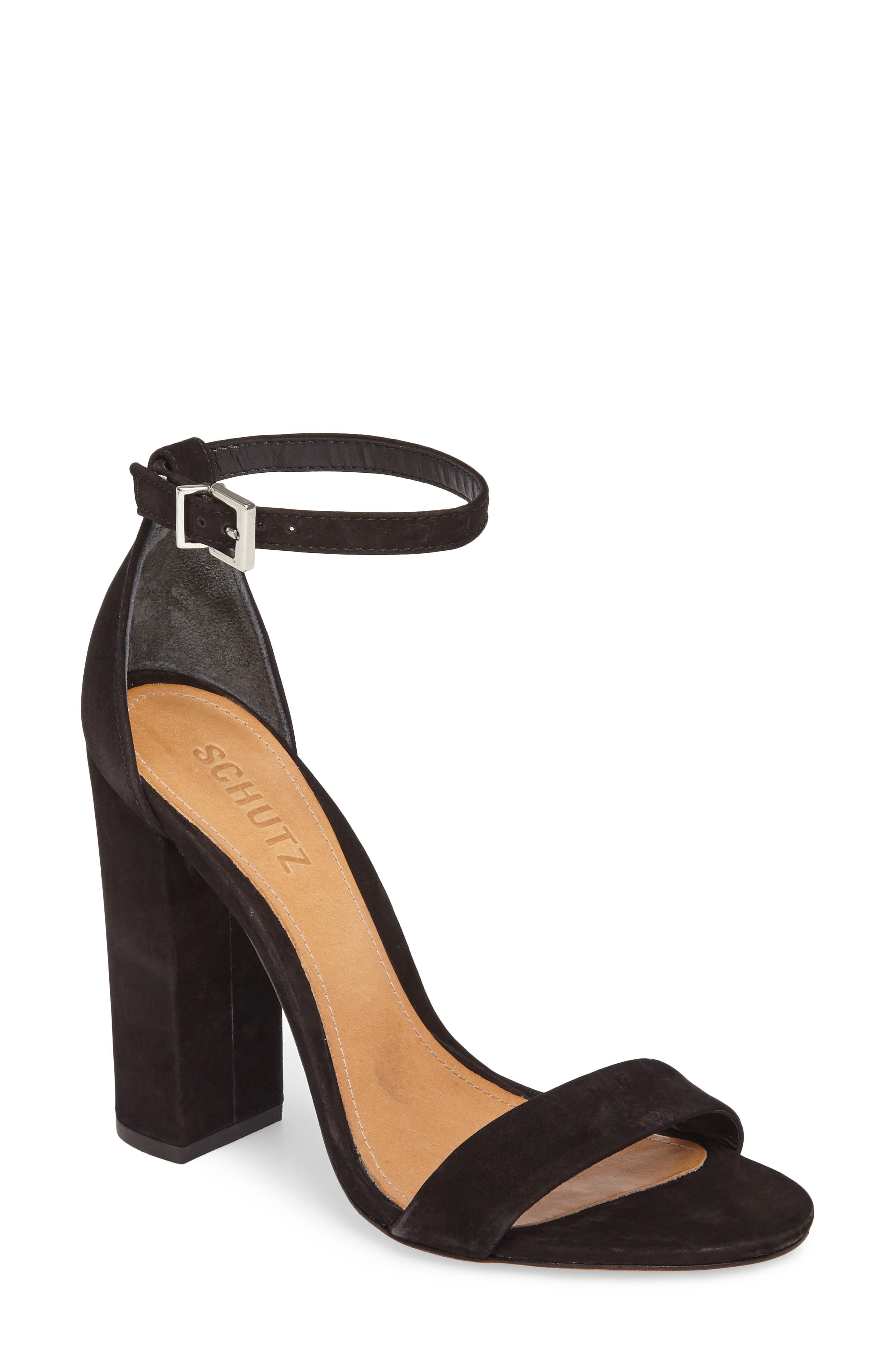 Enida Strappy Sandal,                         Main,                         color, Black Nubuck Leather