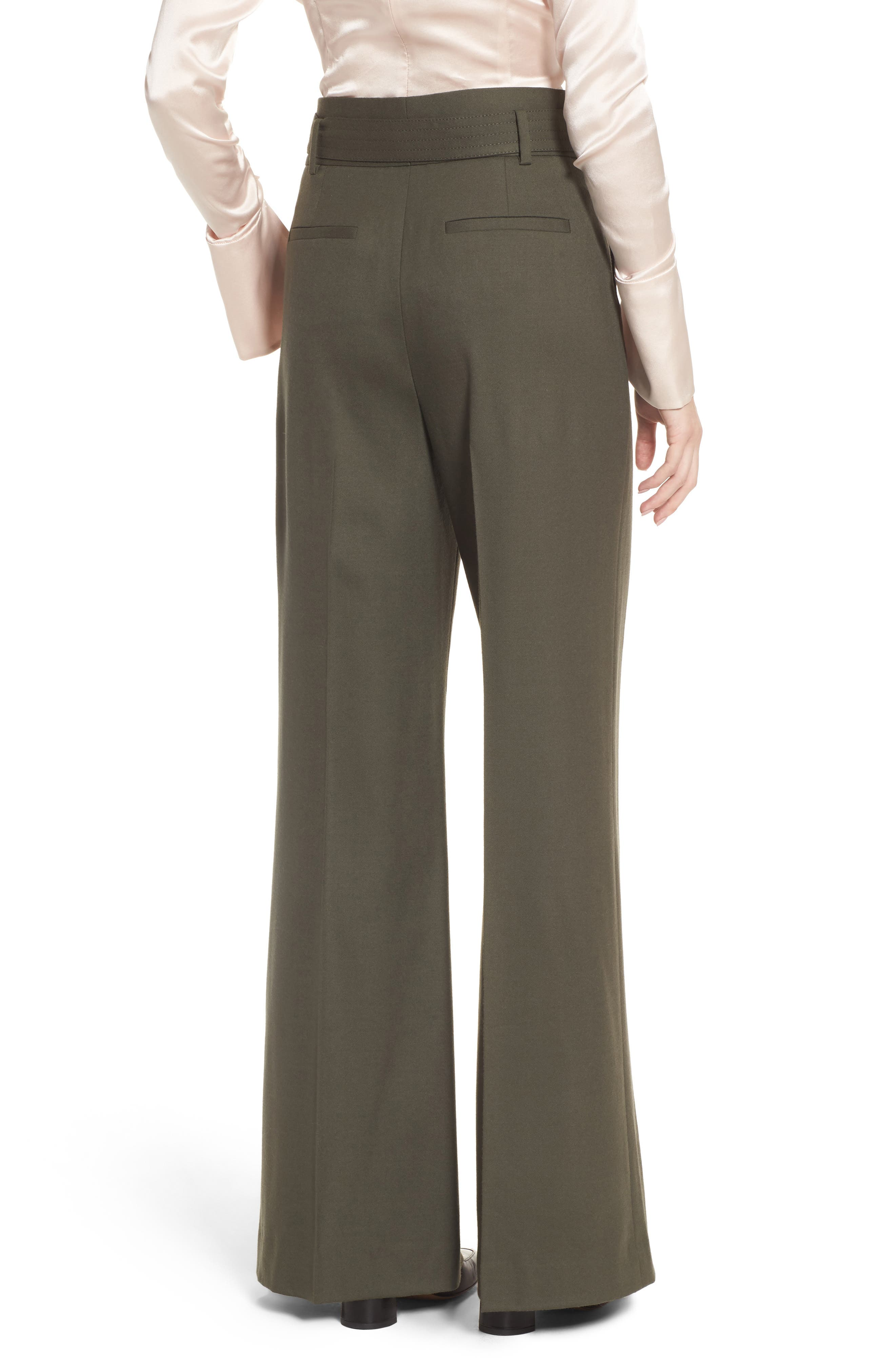 Wide Leg Stretch Wool Pants,                             Alternate thumbnail 2, color,                             Olive Tuscan