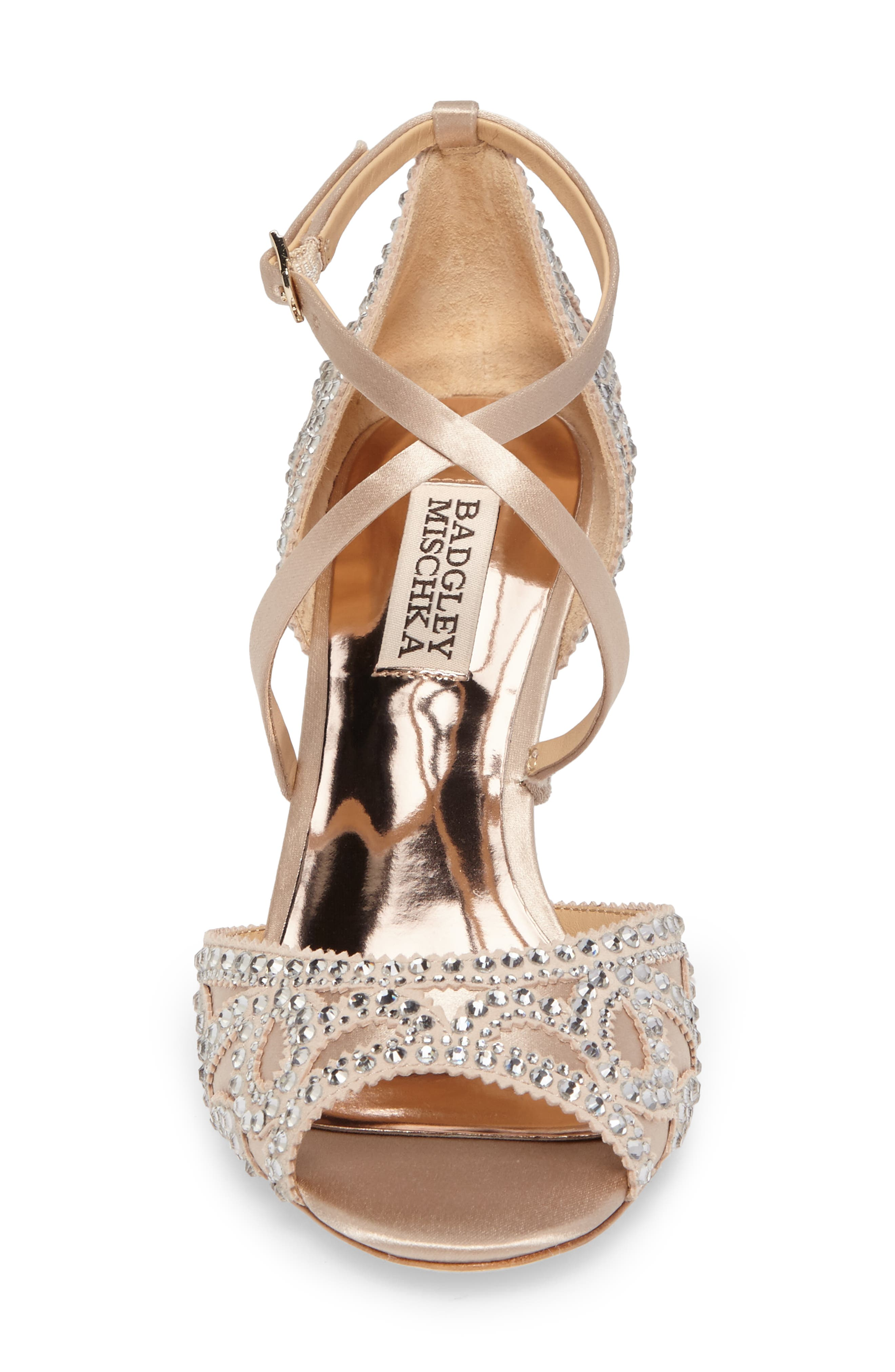 Winter Strappy Wedge Pump,                             Alternate thumbnail 4, color,                             Nude Satin