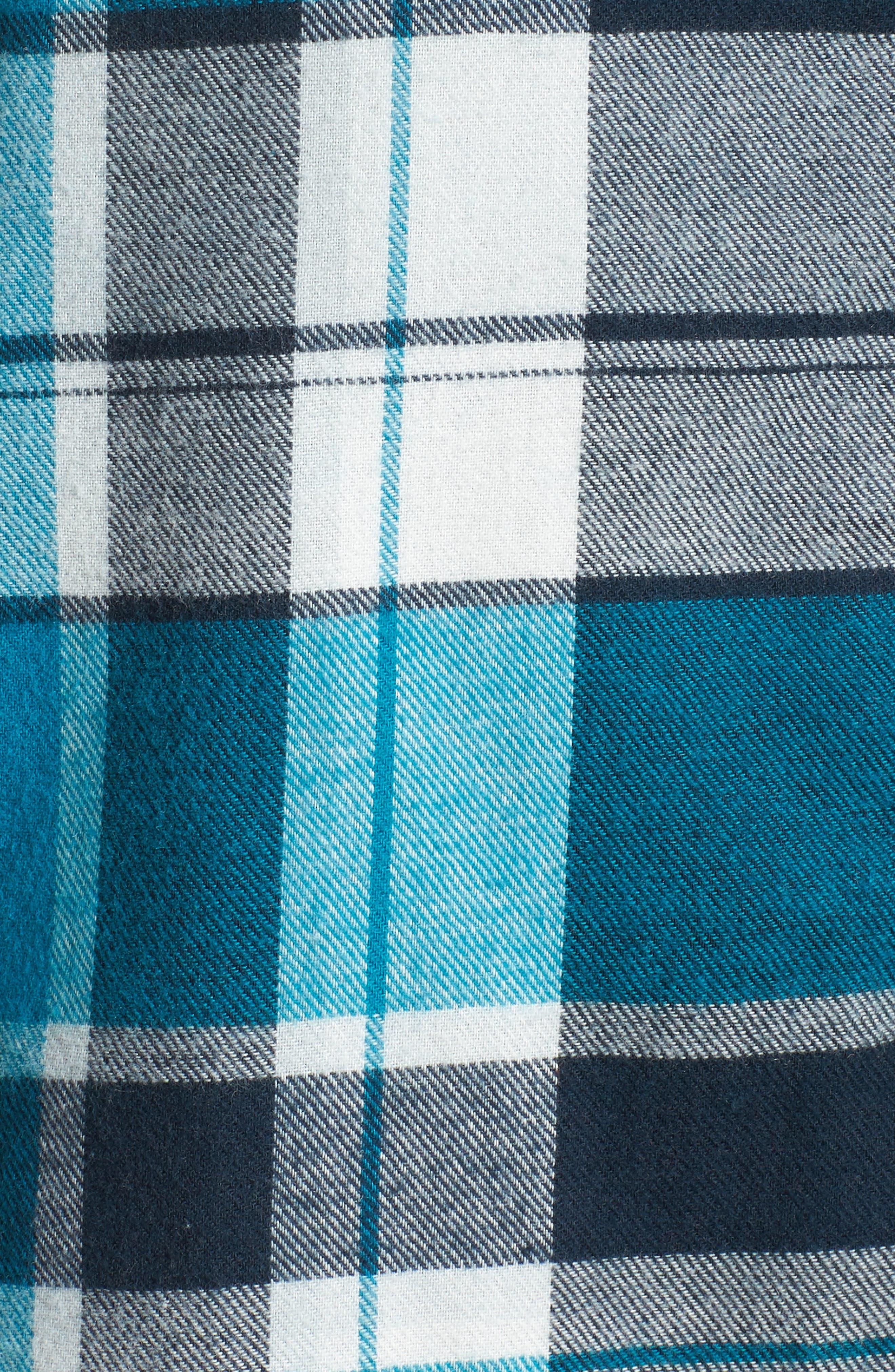 Flannel Nightshirt,                             Alternate thumbnail 6, color,                             Teal Enamel Multi Plaid