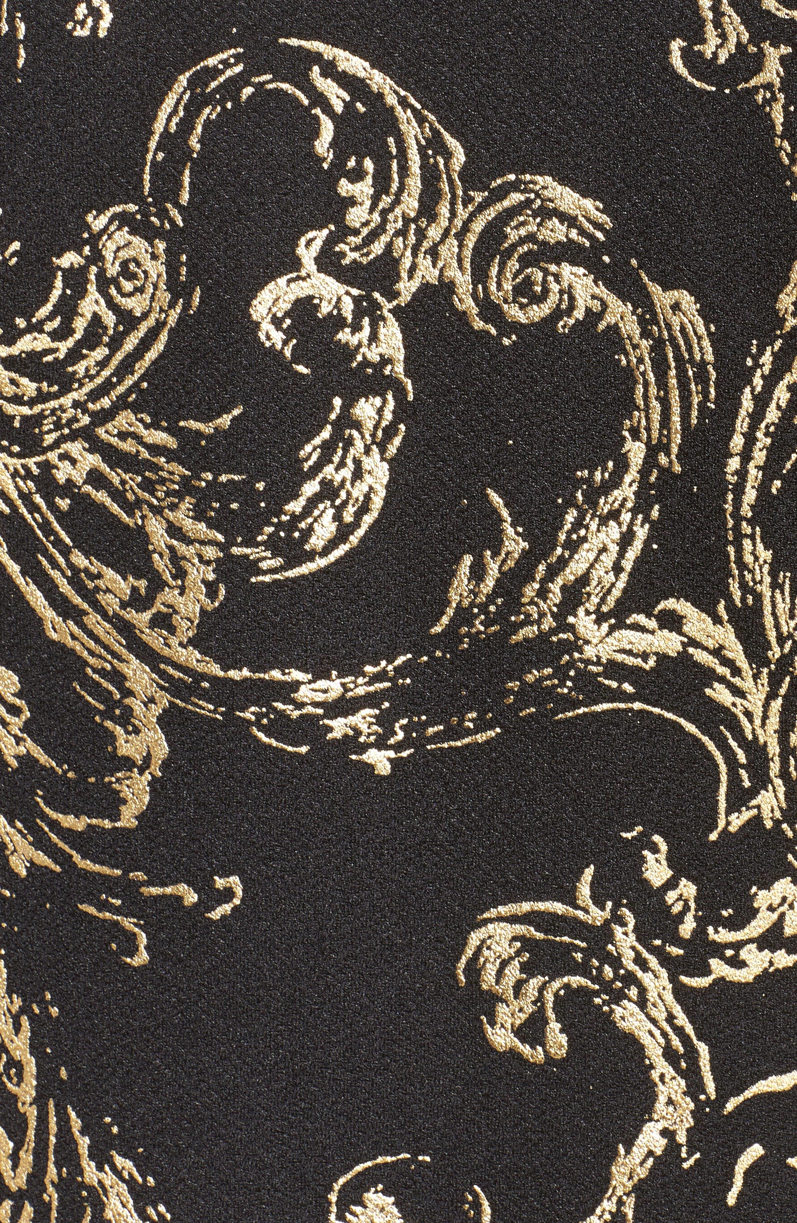 Foiled Print Twinset,                             Alternate thumbnail 5, color,                             Black/ Gold