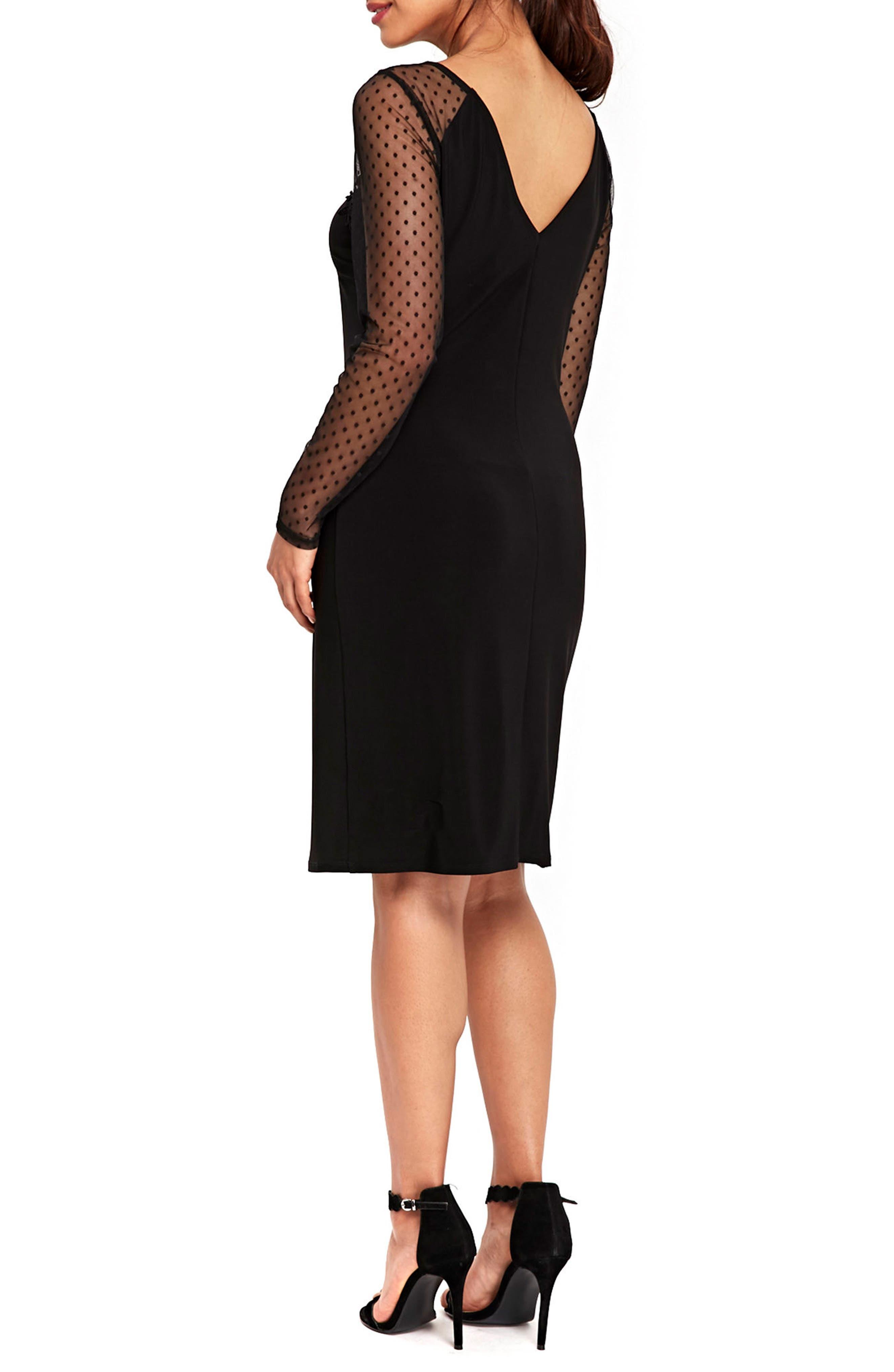 Dot Mesh Sleeve Sheath Dress,                             Alternate thumbnail 2, color,                             Black