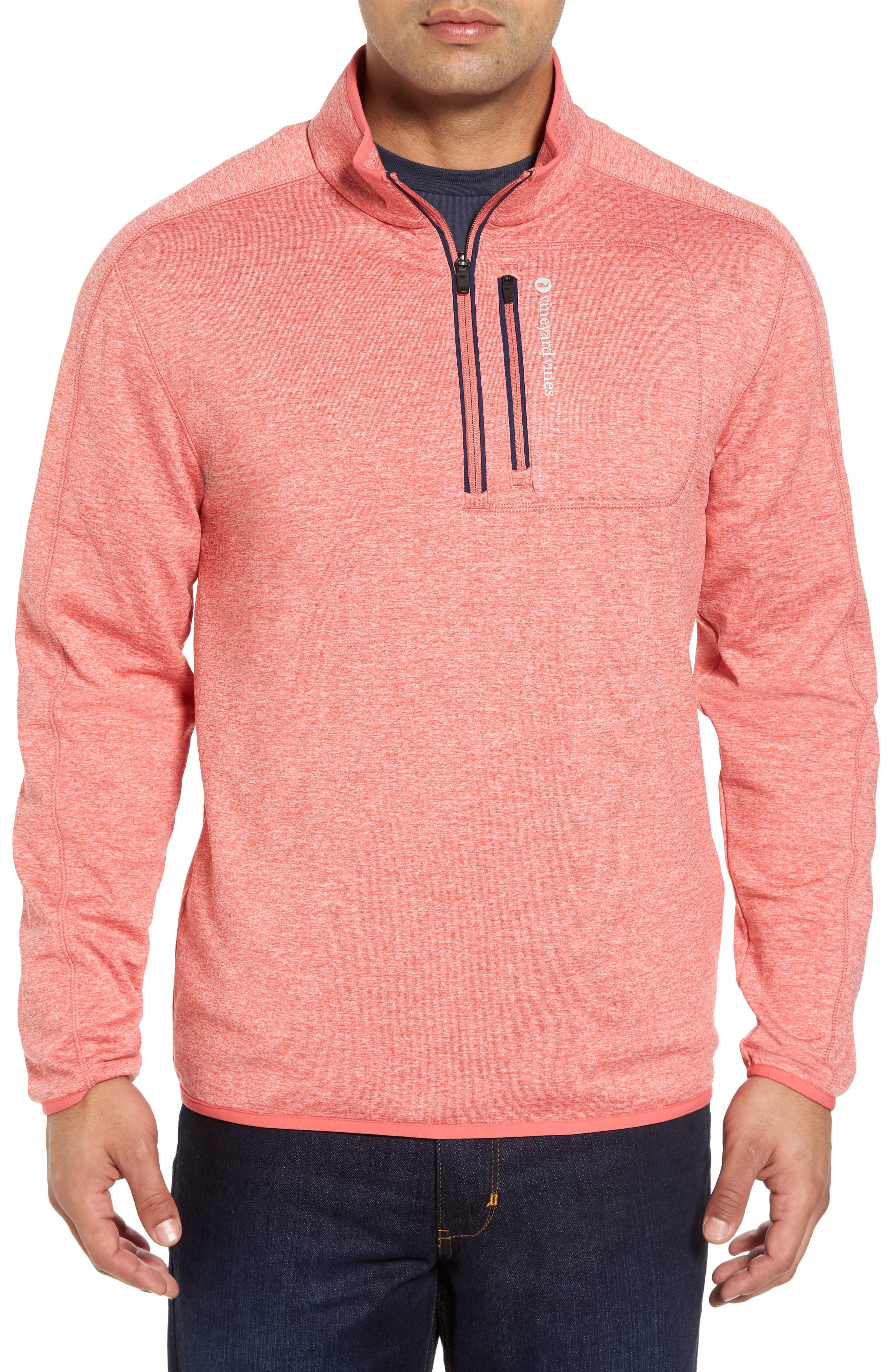 Grid Fleece Quarter Zip Pullover,                         Main,                         color, Jetty Red