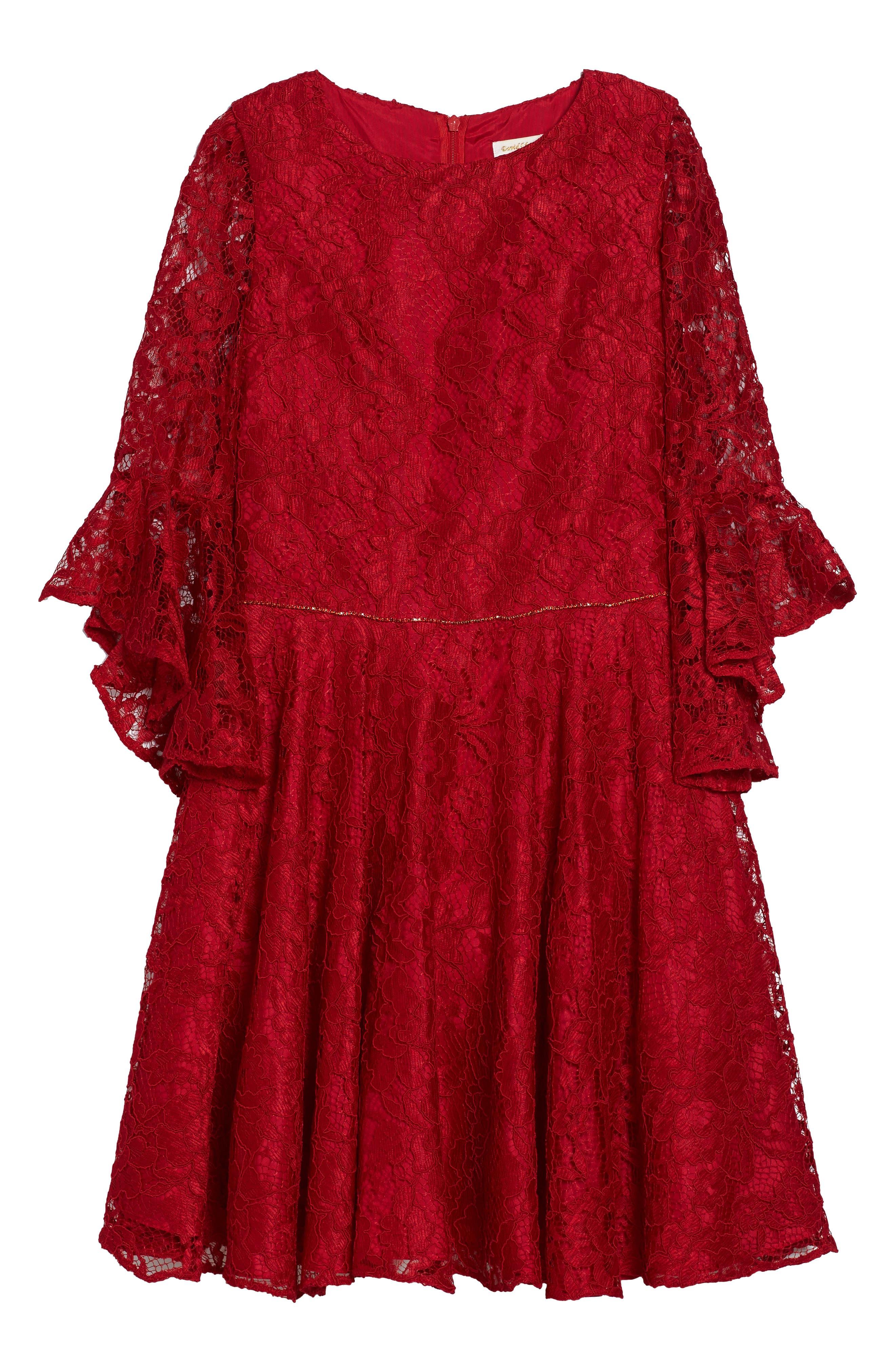 Alternate Image 1 Selected - David Charles Bell Sleeve Lace Dress (Big Girls)