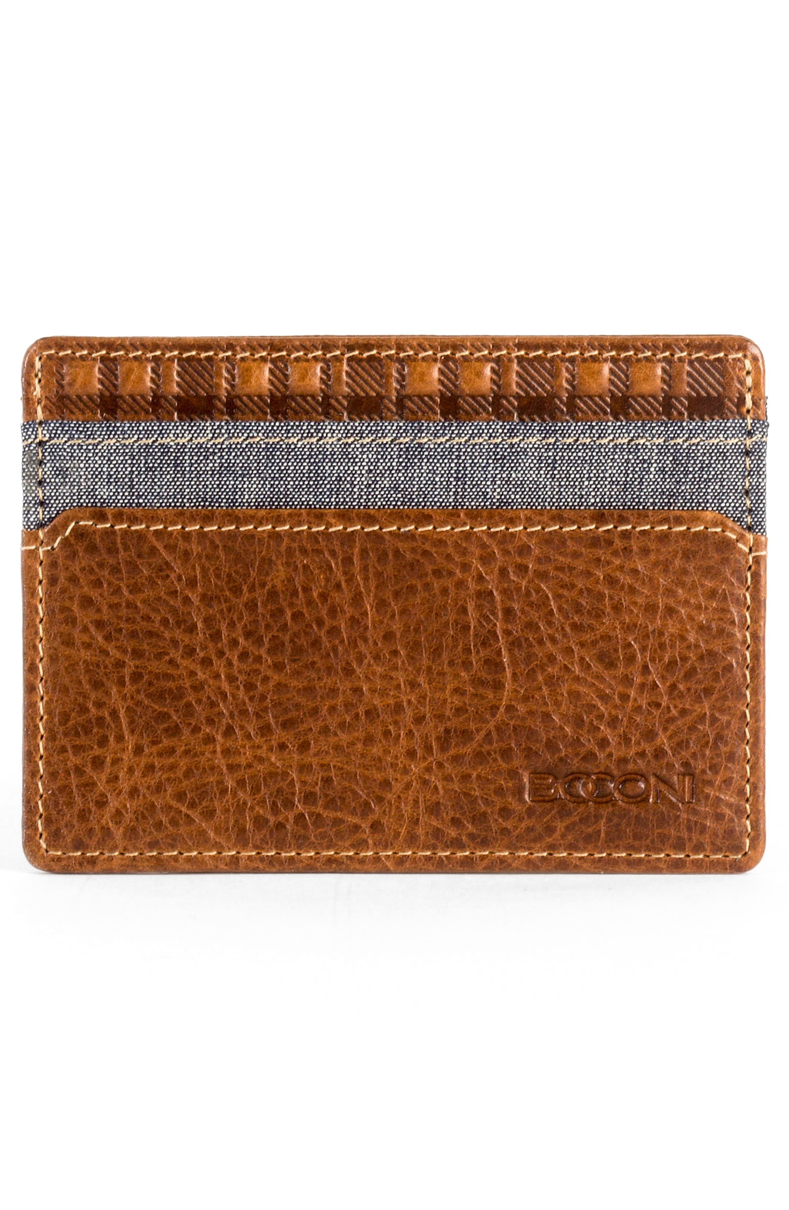 Caleb LTE Leather Card Case,                             Alternate thumbnail 2, color,                             Chestnut/ Chambray