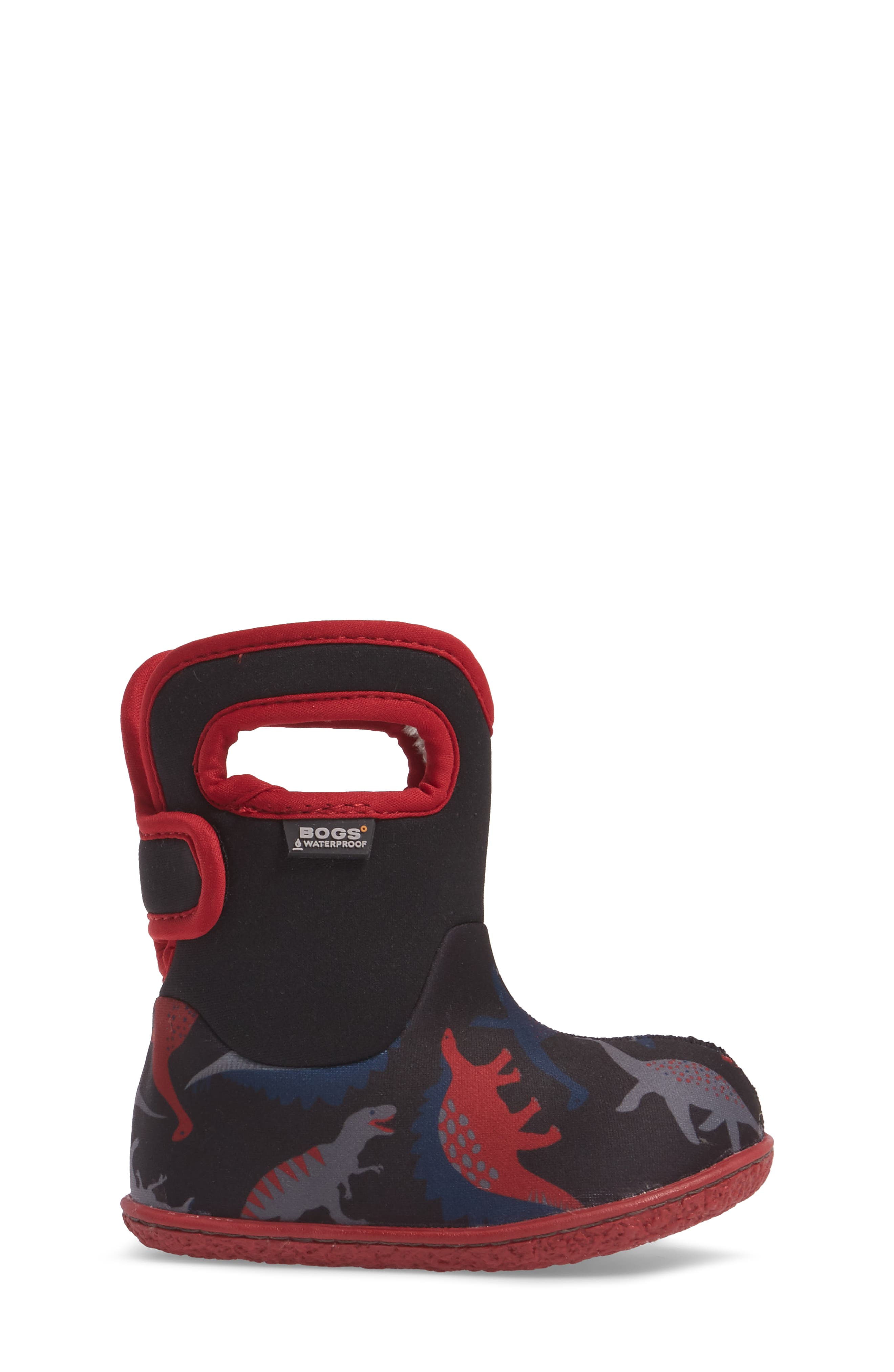 Baby Bog Classic Dino Insulated Waterproof Boot,                             Alternate thumbnail 3, color,                             Black/ Red Multi