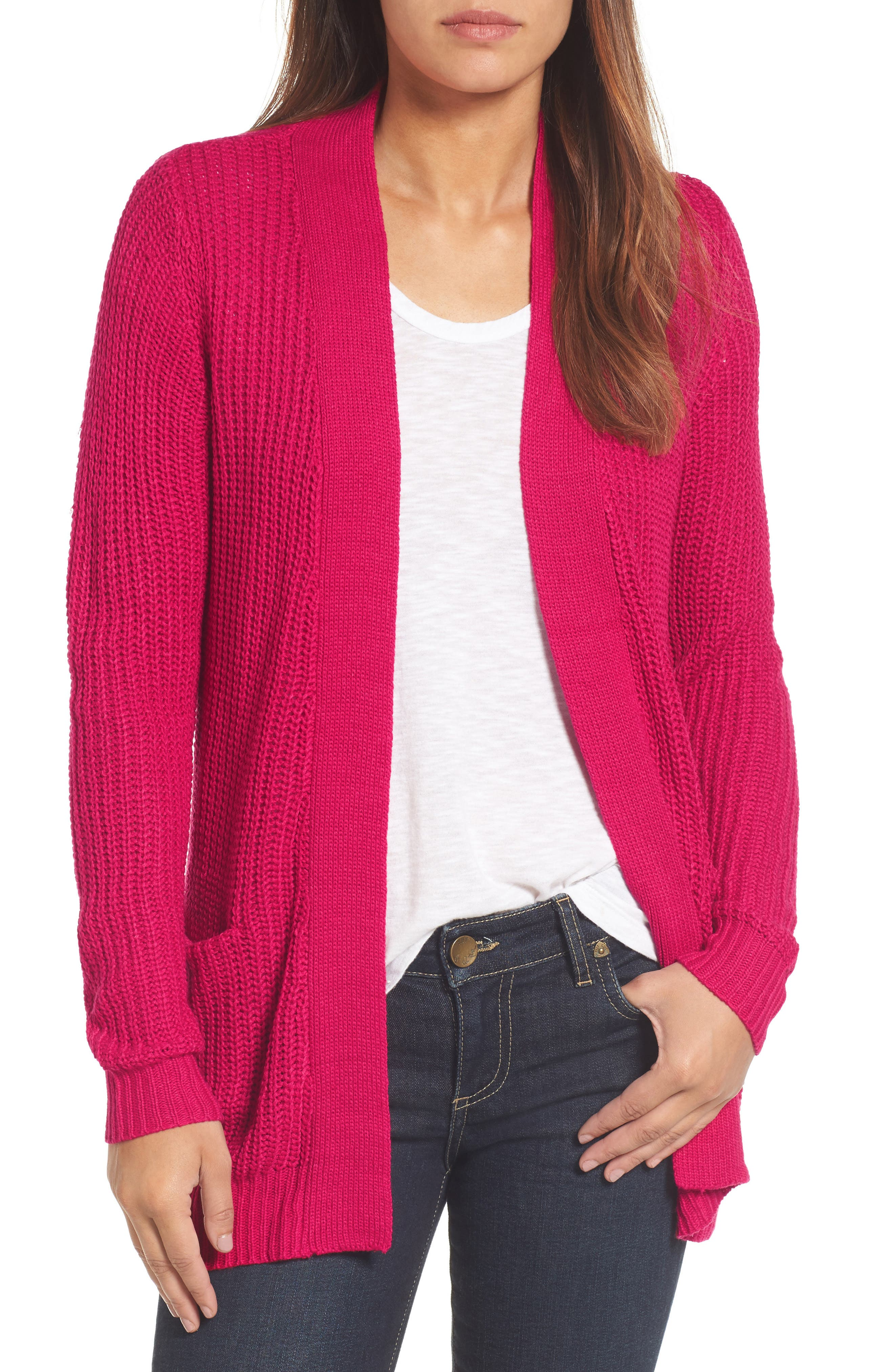 Halogen® Open Stitch Detail Cardigan