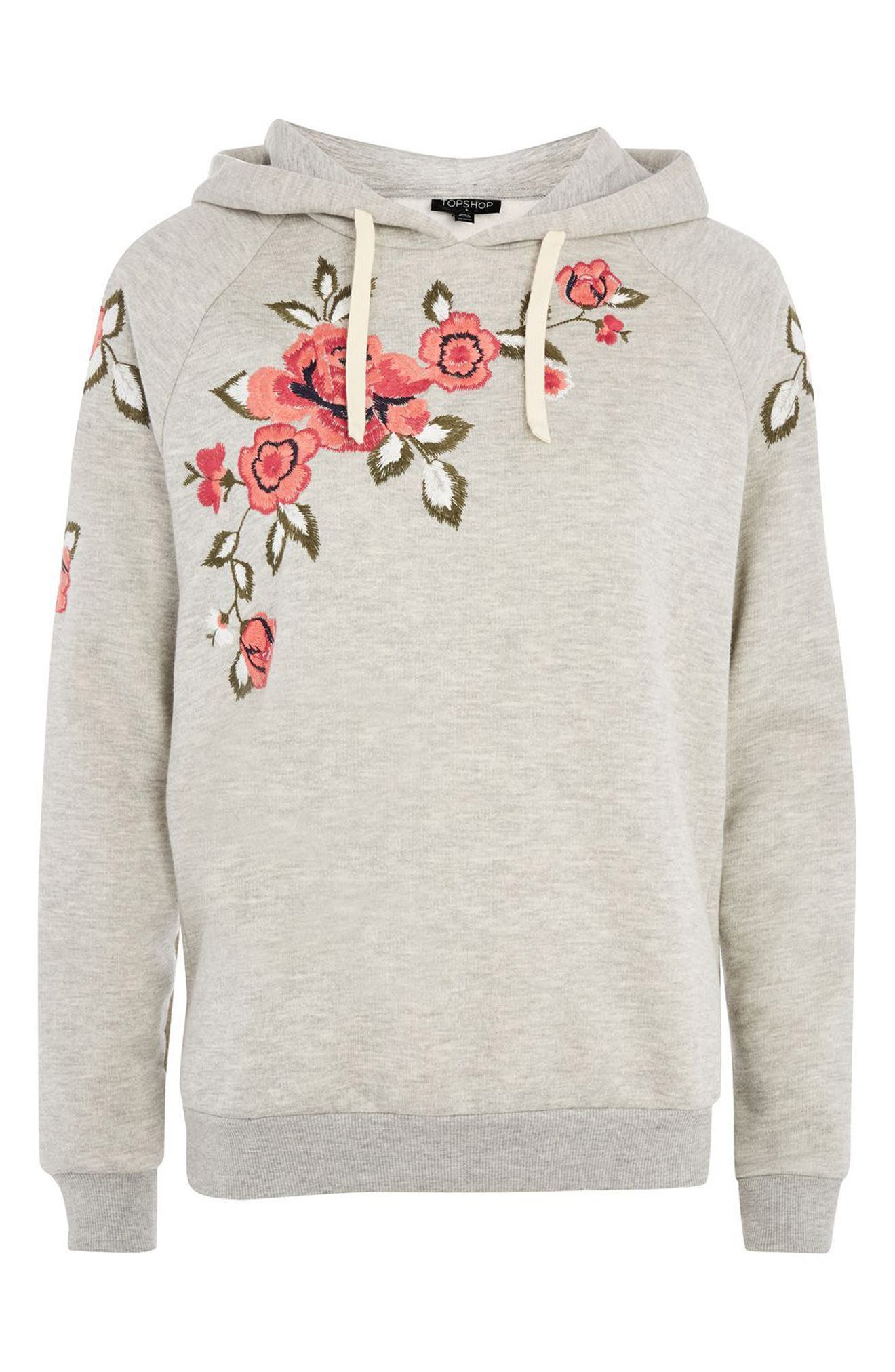 Floral Embroidered Hoodie,                             Alternate thumbnail 3, color,                             Grey Multi
