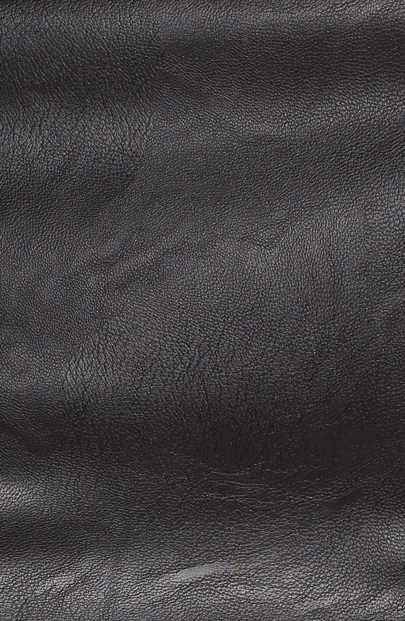 Faux Leather Frill Jacket,                             Alternate thumbnail 5, color,                             Black