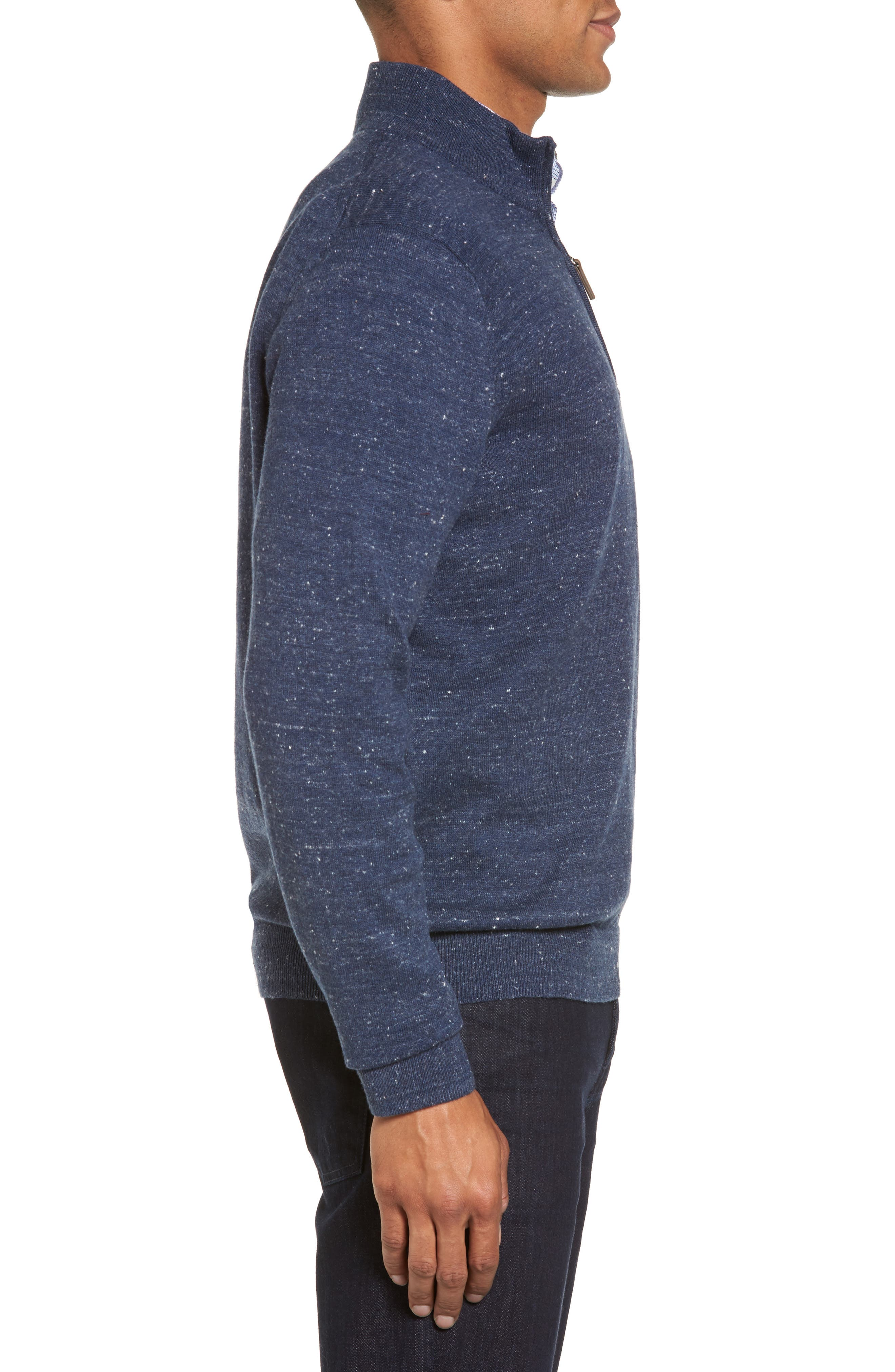 Quarter Zip Sweater,                             Alternate thumbnail 3, color,                             Blue Twilight Marl