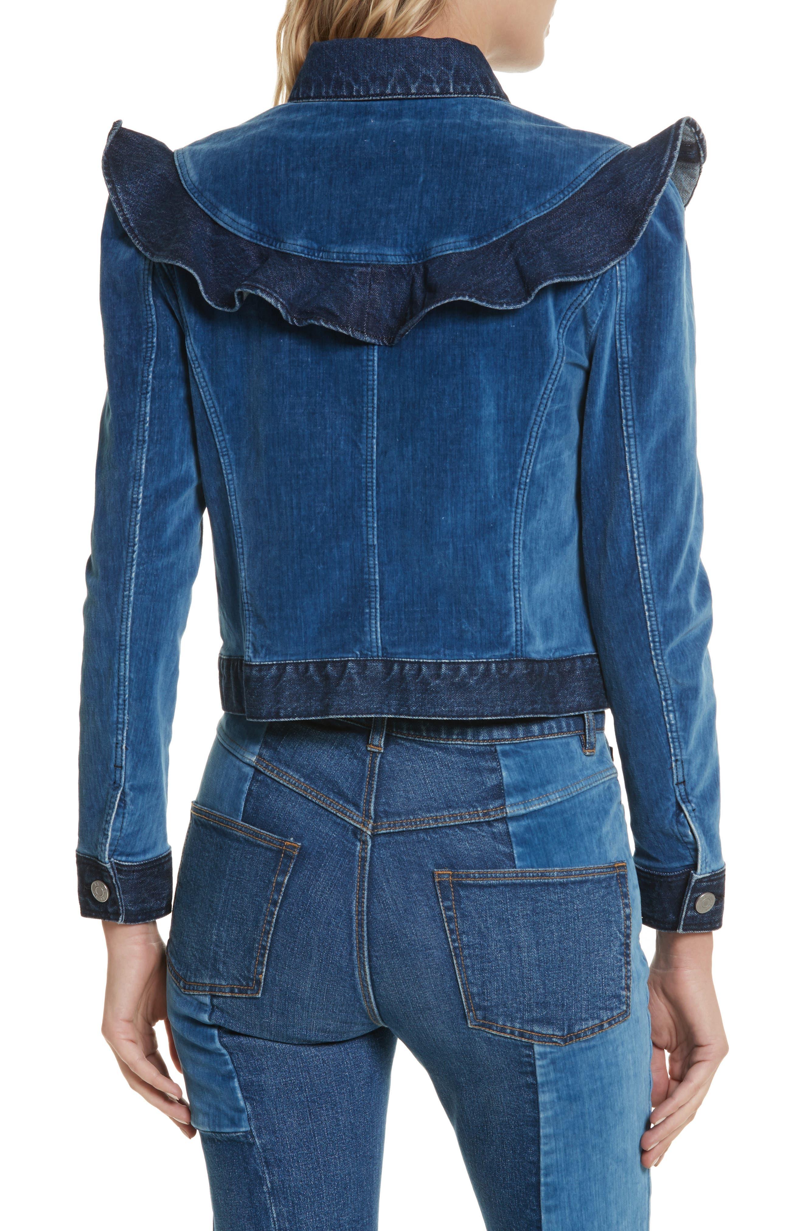 Velvet Denim Jacket,                             Alternate thumbnail 2, color,                             Dark Blueprint Patch Wash