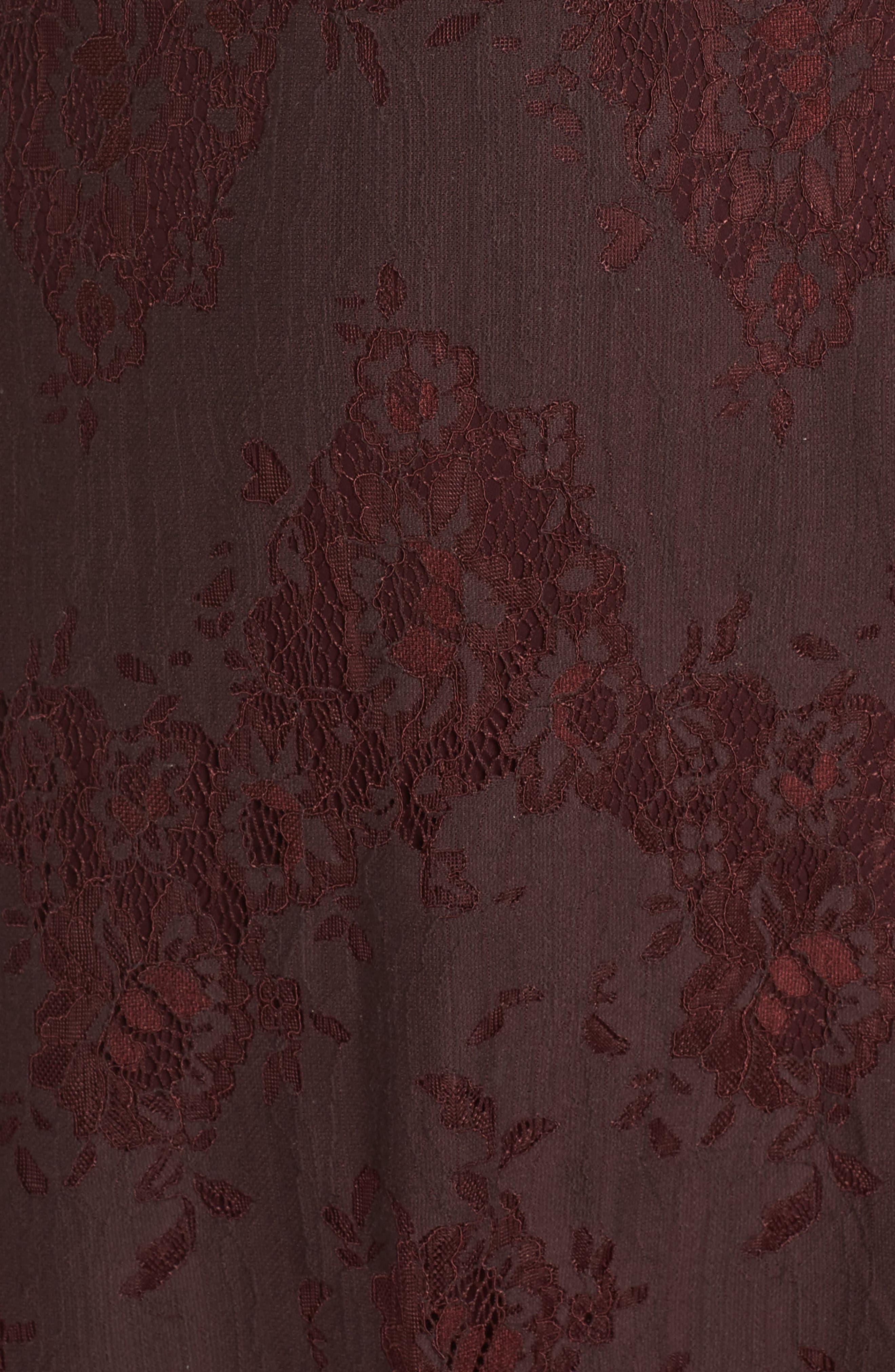 Cold Shoulder Lace A-Line Dress,                             Alternate thumbnail 5, color,                             Burgundy