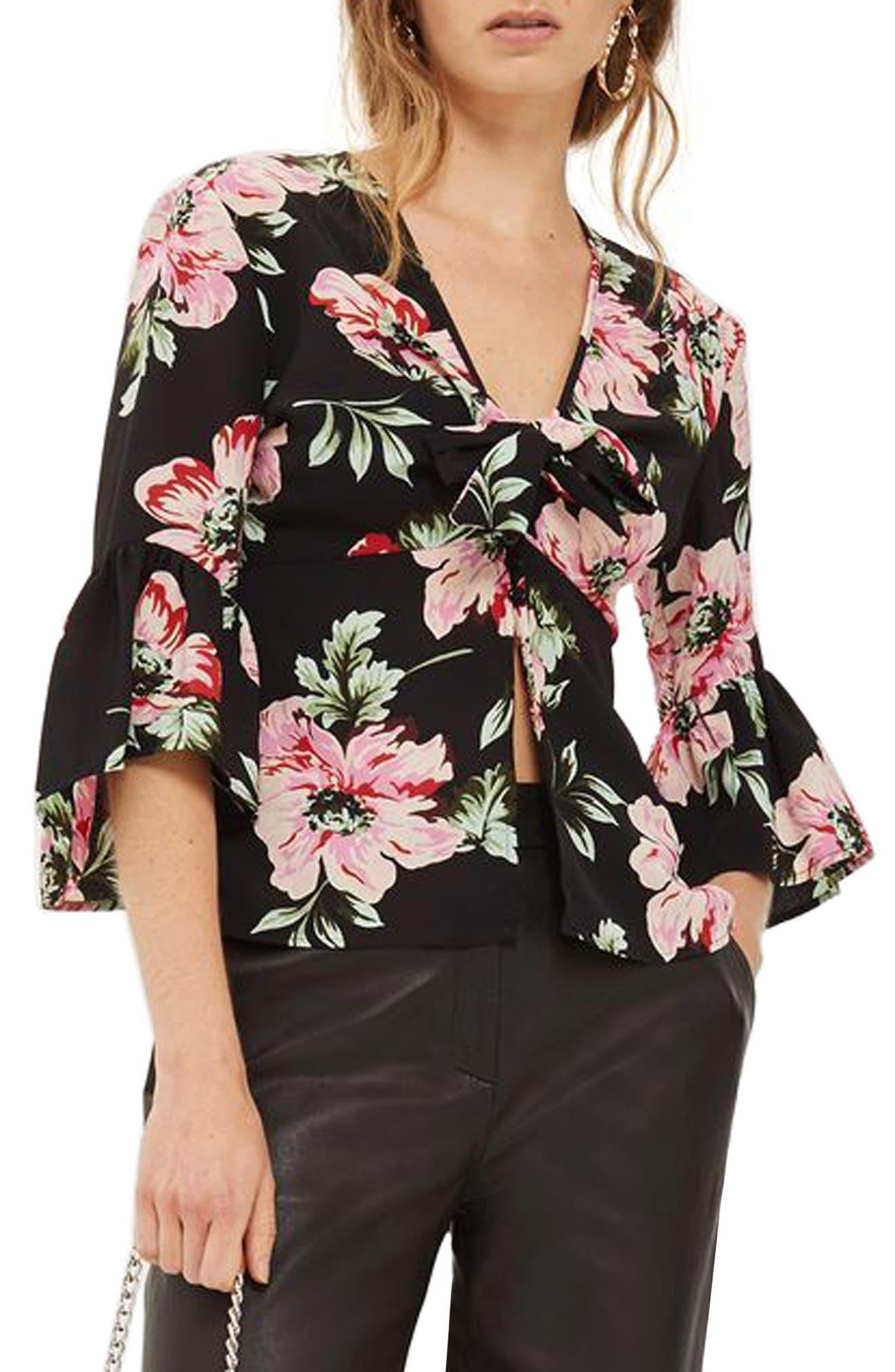 Main Image - Topshop Felicity Tie Front Blouse