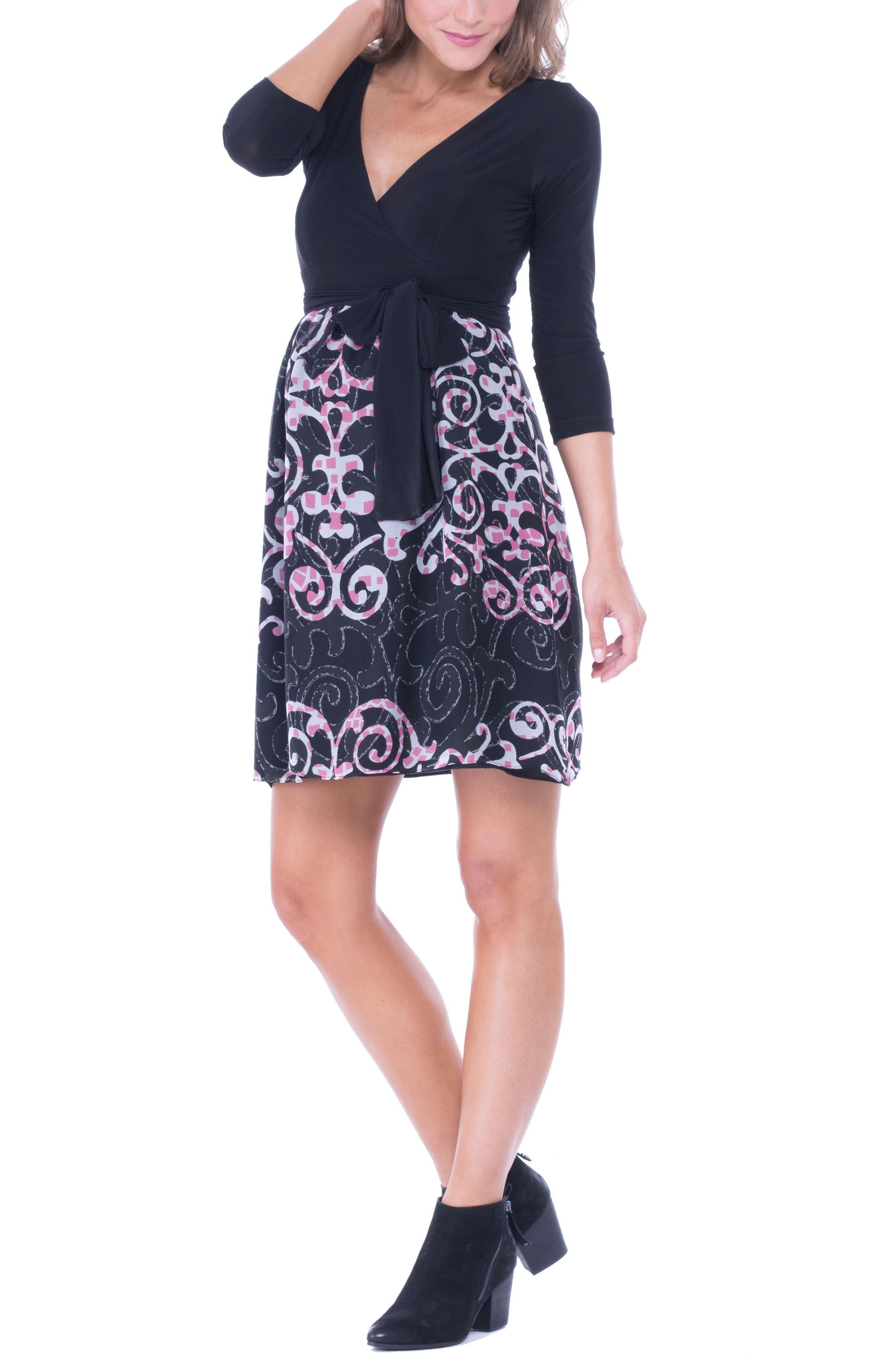 Alternate Image 4  - Olian Print Faux Wrap Maternity Dress