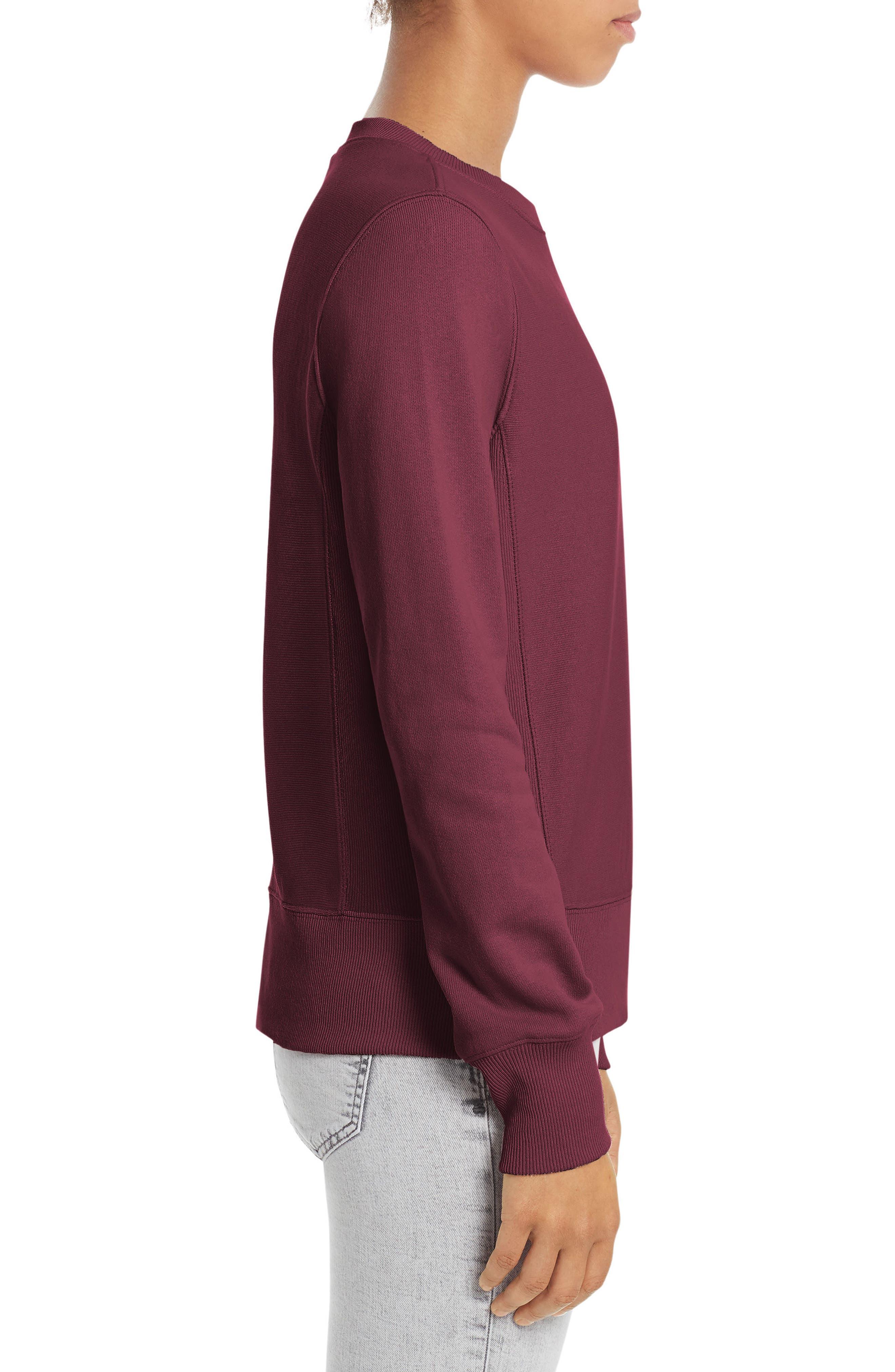 Reverse Weave<sup>®</sup> French Terry Crewneck Sweatshirt,                             Alternate thumbnail 3, color,                             Bordeaux Red