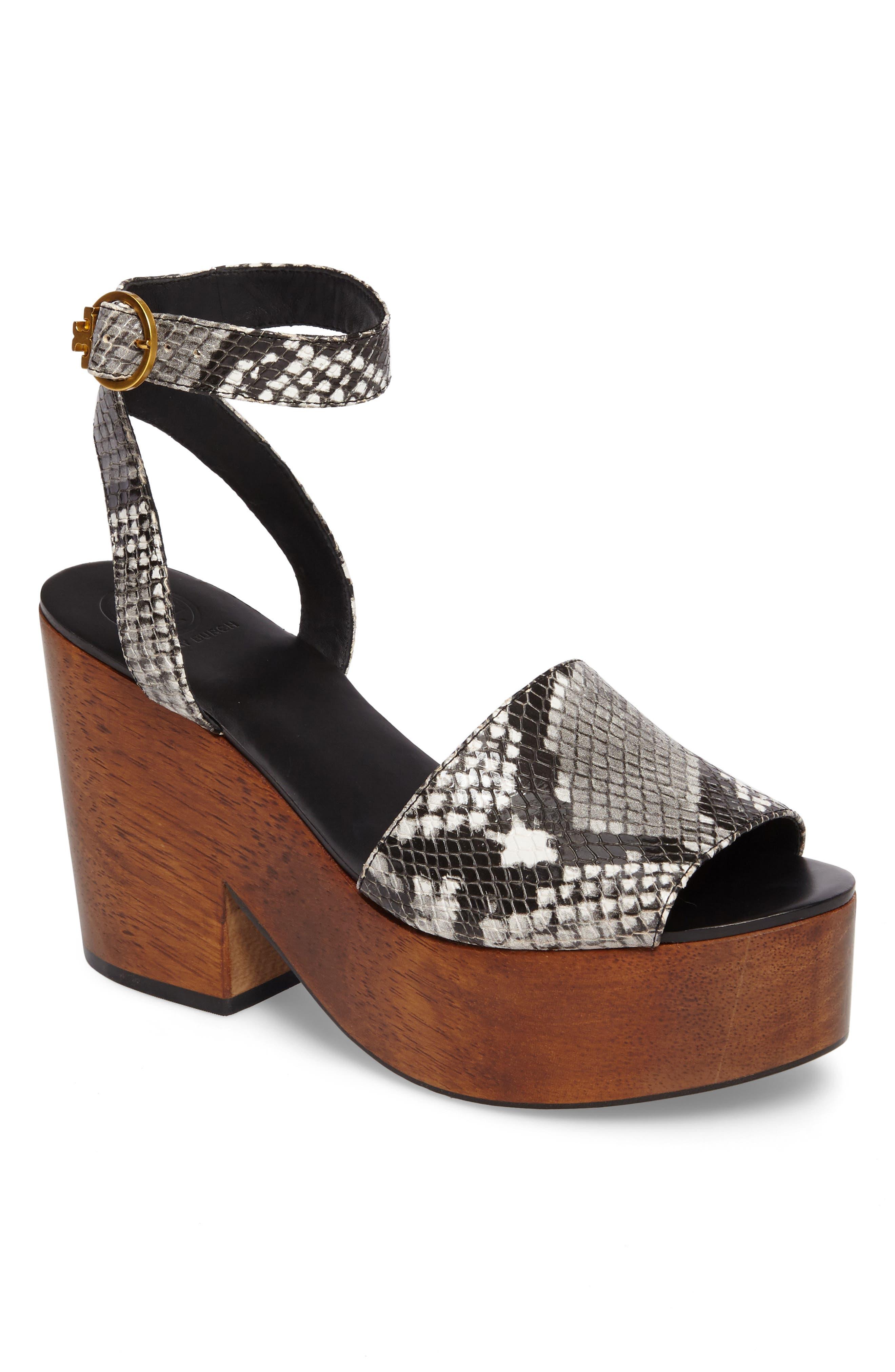 Camilla Platform Sandal,                         Main,                         color, Roccia Black/ White