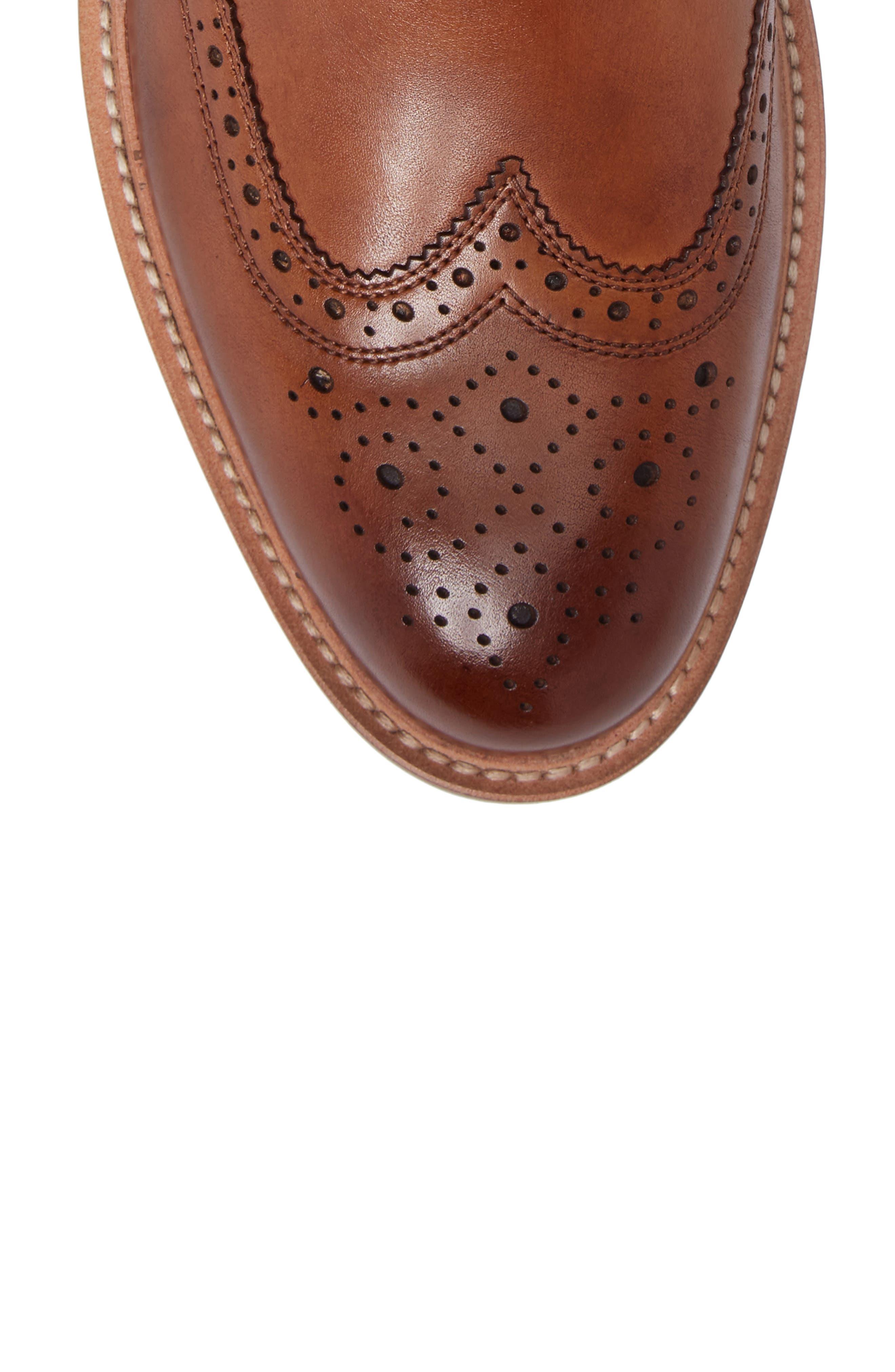 Kenneth Cole Reaction Wingtip Boot,                             Alternate thumbnail 5, color,                             Cognac
