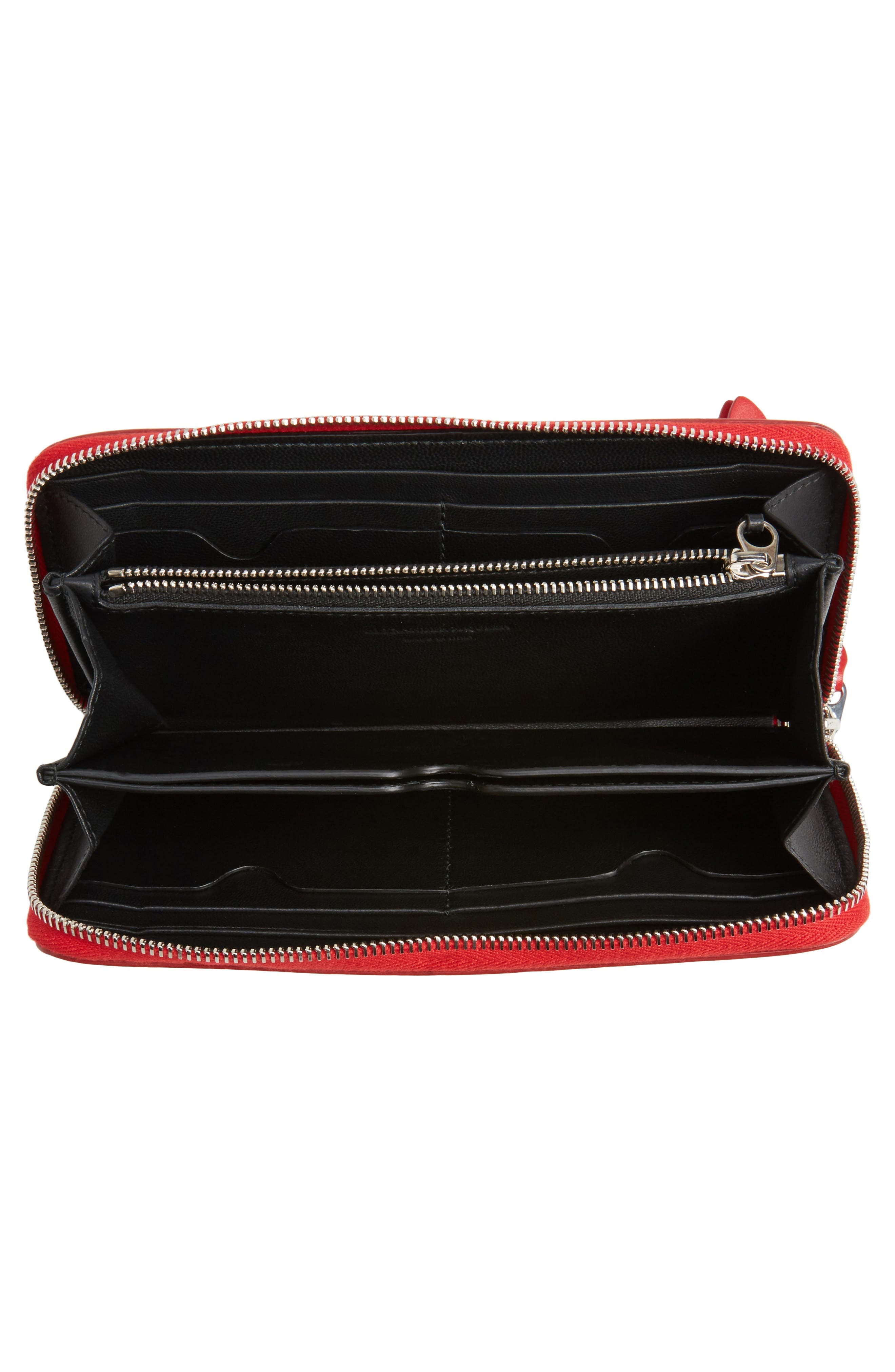 Studded Zip Around Continental Wallet,                             Alternate thumbnail 3, color,                             New Scarlet
