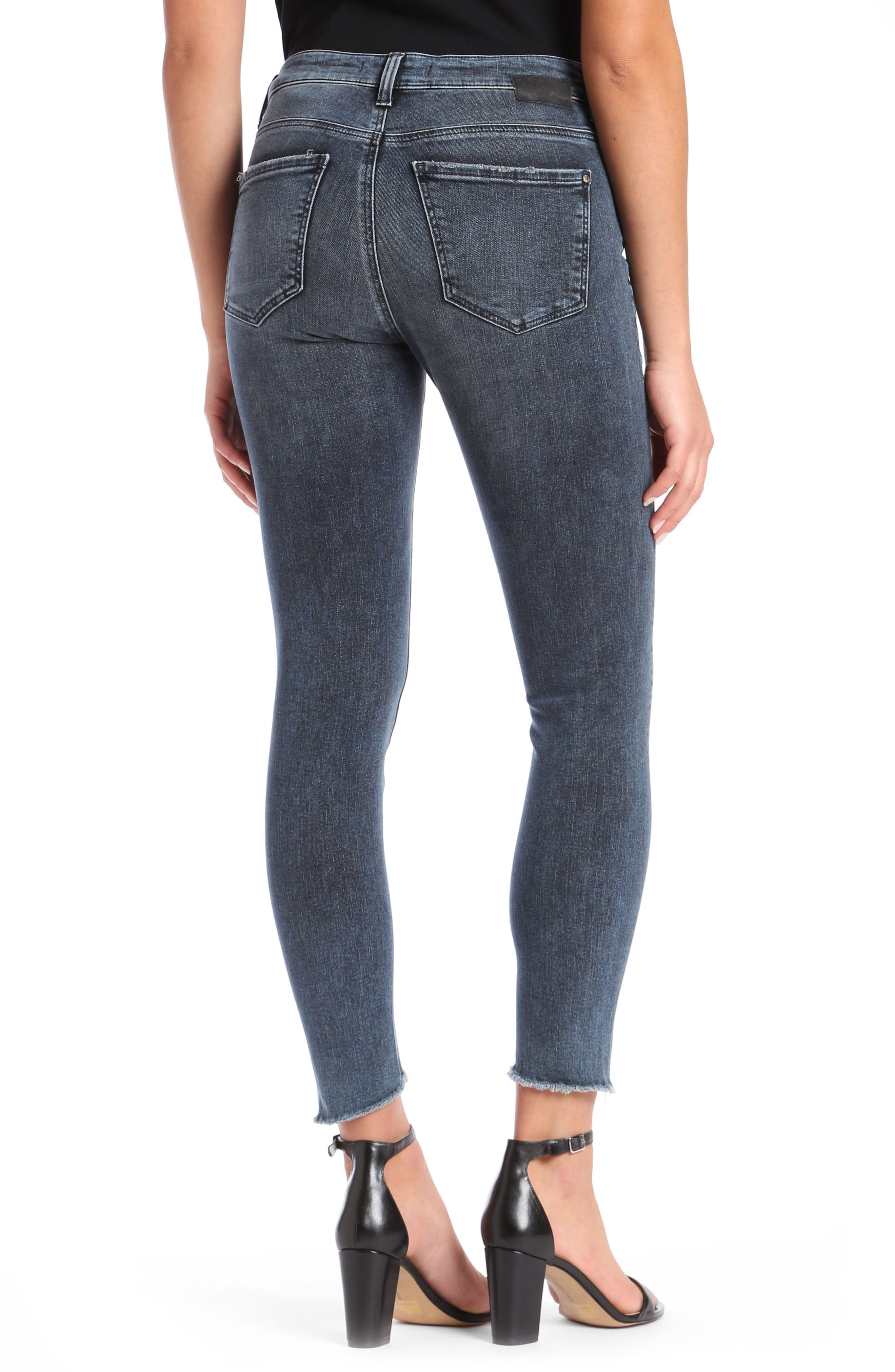 Tess Twisted Step Hem Skinny Jeans,                             Alternate thumbnail 2, color,                             Twisted Dark Ink
