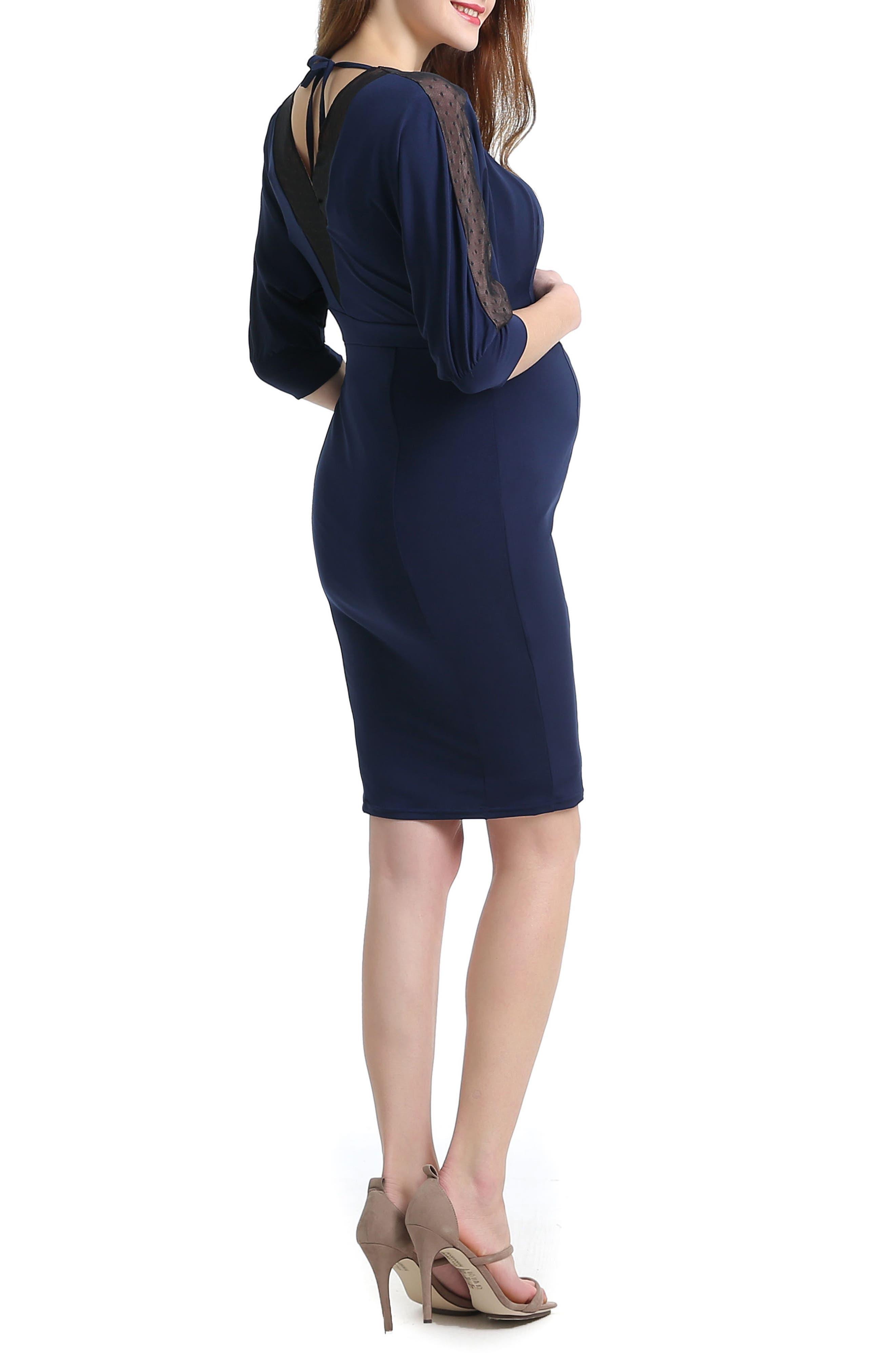Kelly Mesh Trim Maternity/Nursing Dress,                             Alternate thumbnail 2, color,                             Navy