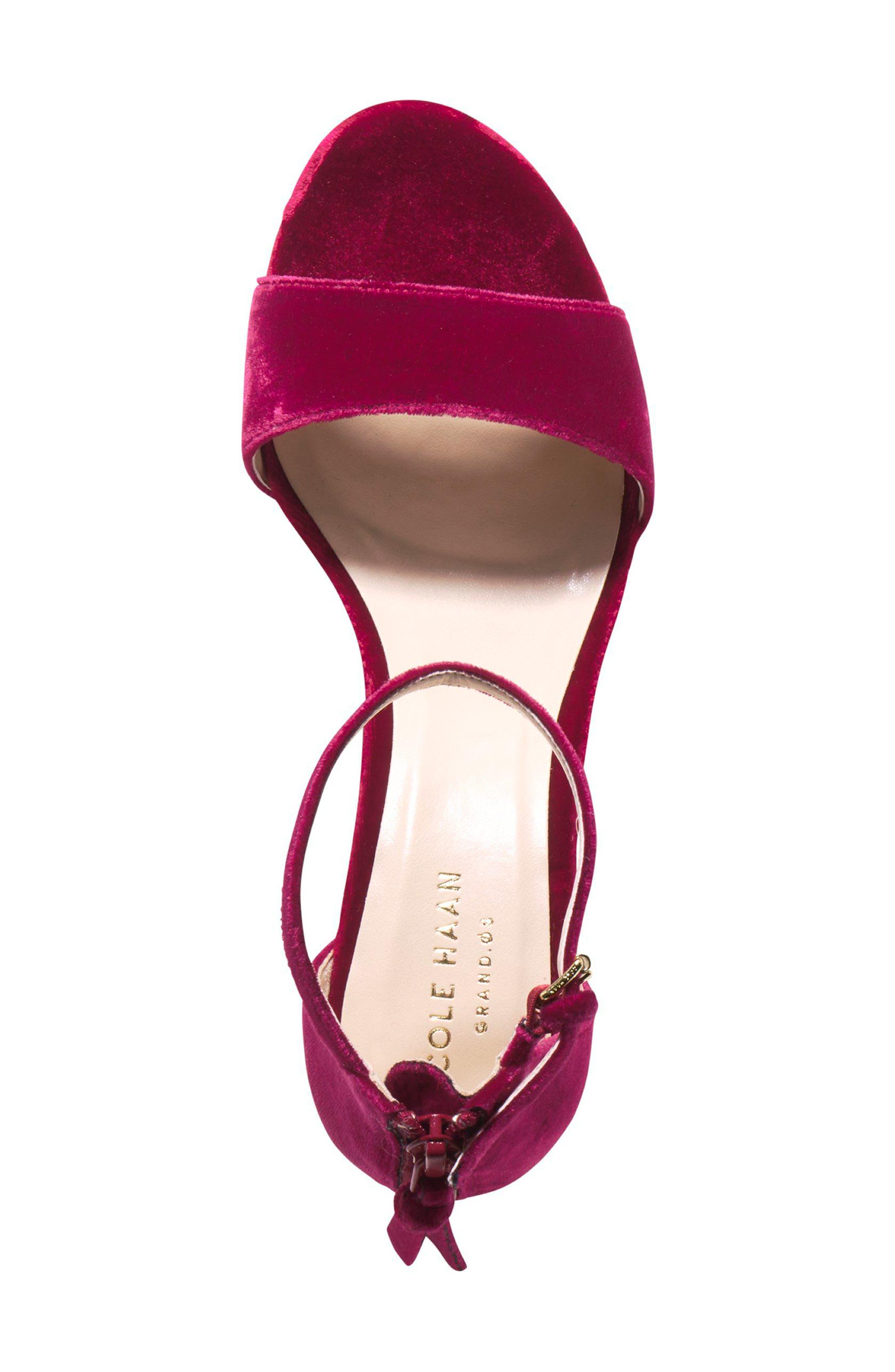 Clara Grand Ankle Strap Sandal,                             Alternate thumbnail 4, color,                             Red Velvet