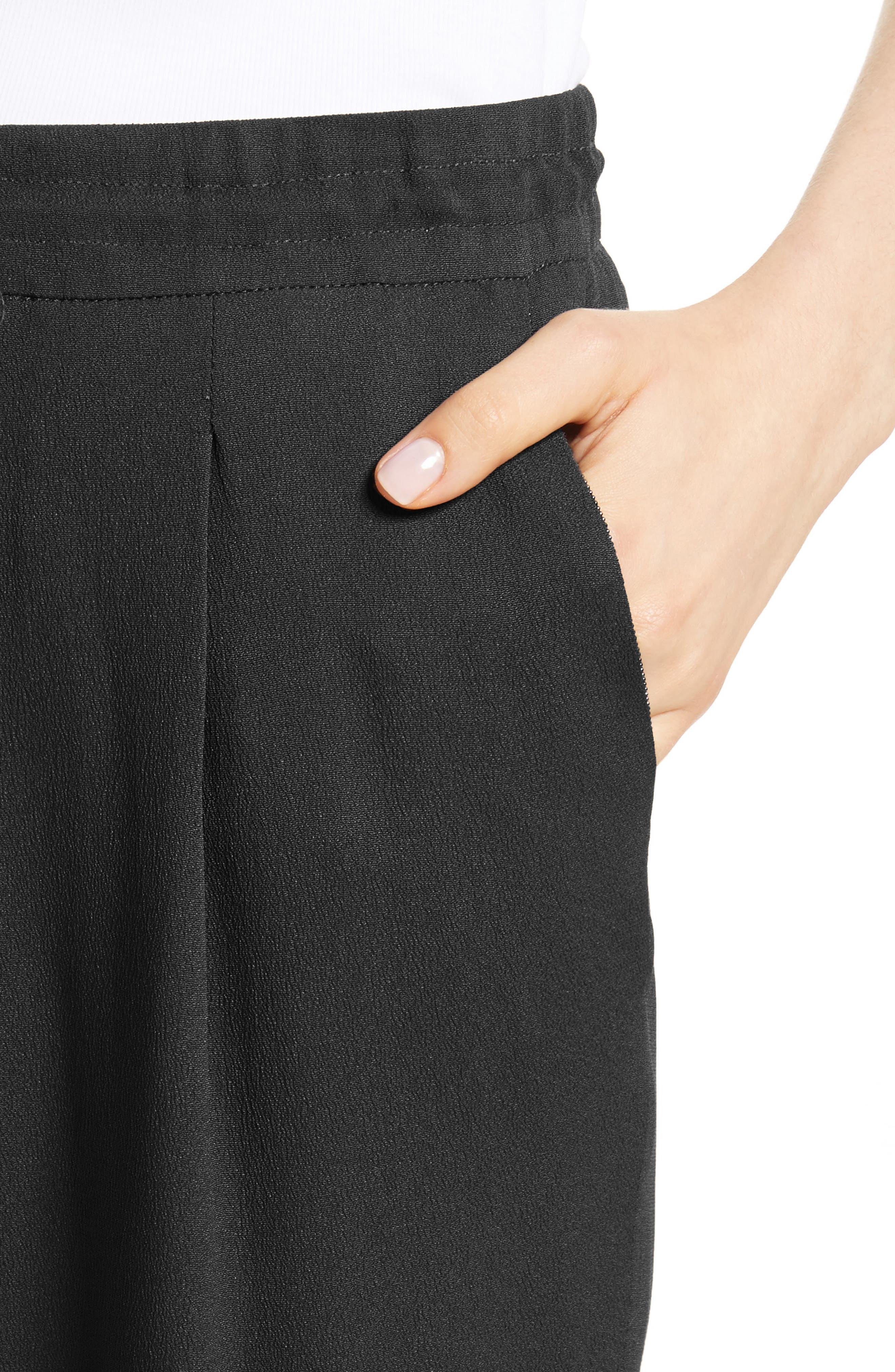 Crop Drawstring Pants,                             Alternate thumbnail 4, color,                             Black
