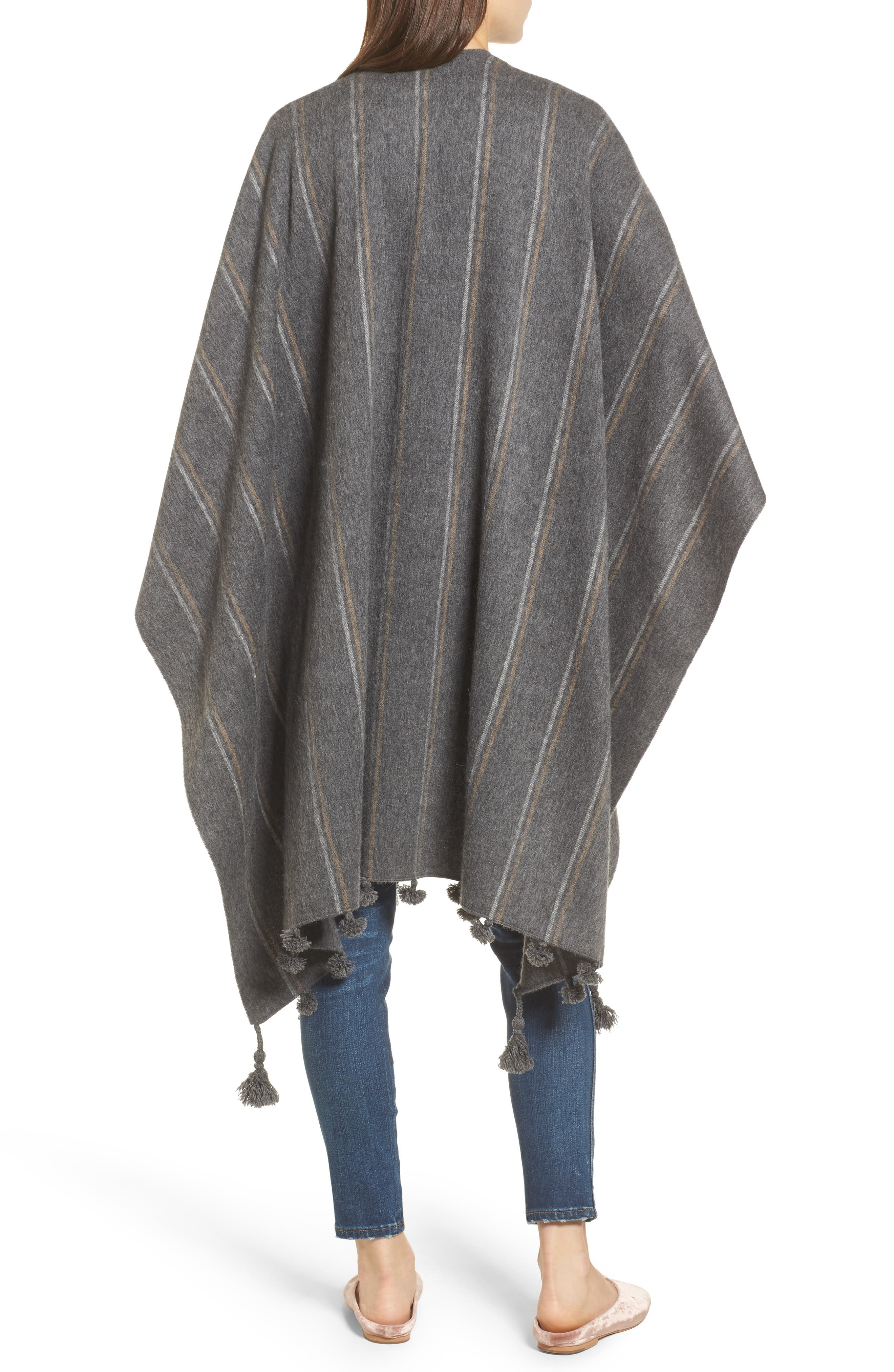 Stripe Poncho Scarf,                             Alternate thumbnail 2, color,                             Heather Charcoal
