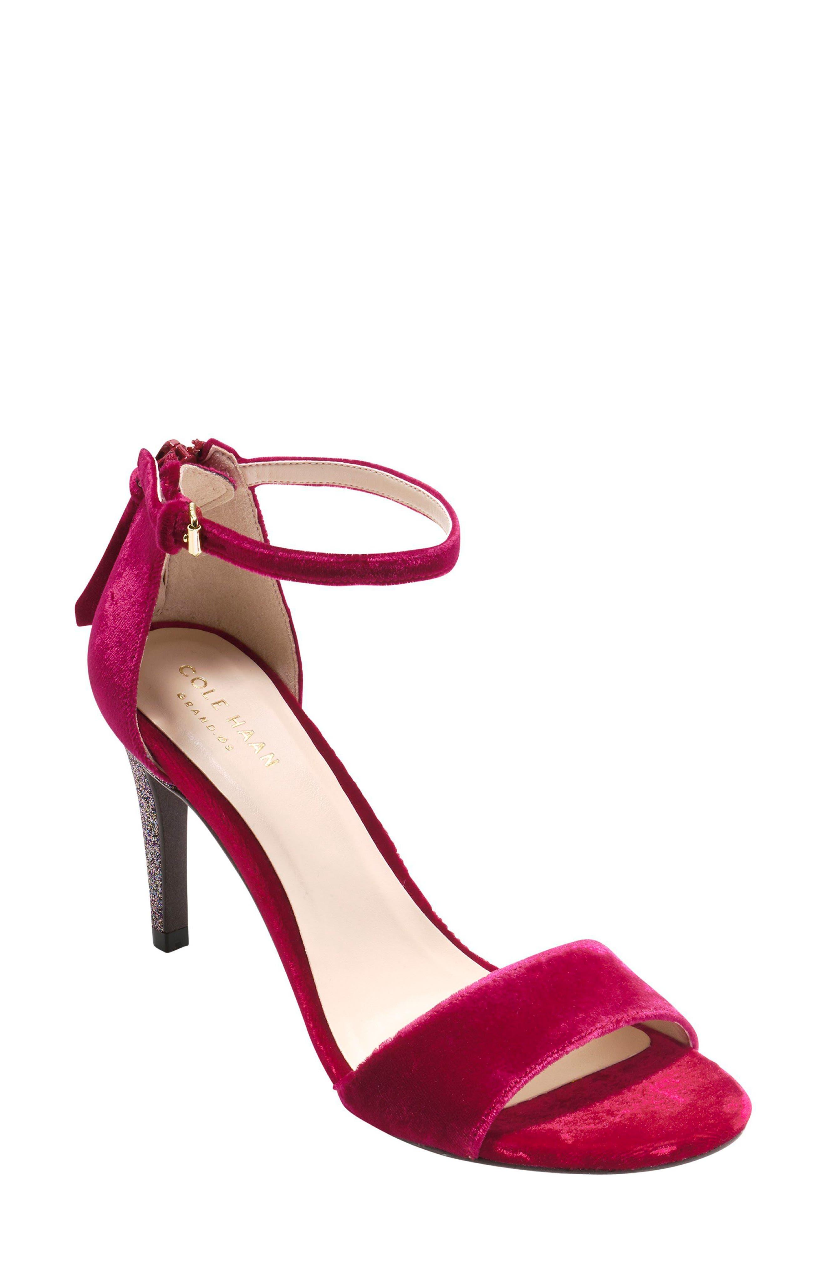 Clara Grand Ankle Strap Sandal,                         Main,                         color, Red Velvet