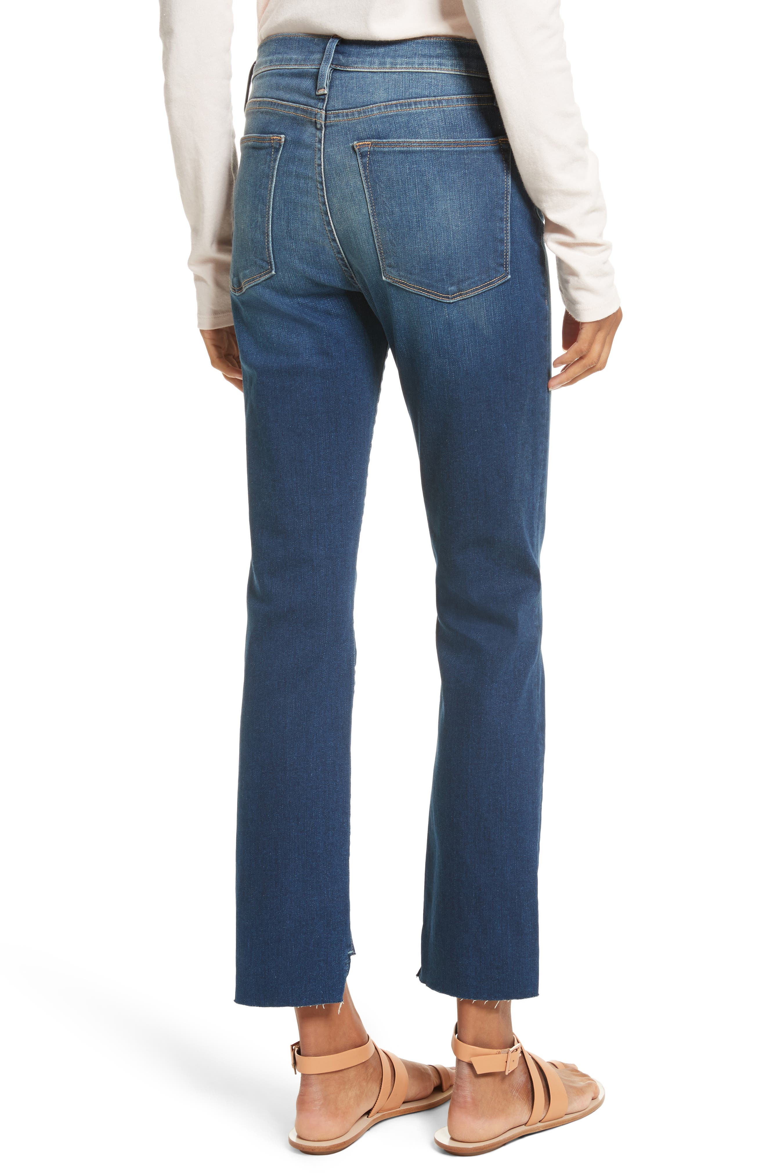 Le High Straight High Waist Raw Stagger Jeans,                             Alternate thumbnail 3, color,                             Murrayfield