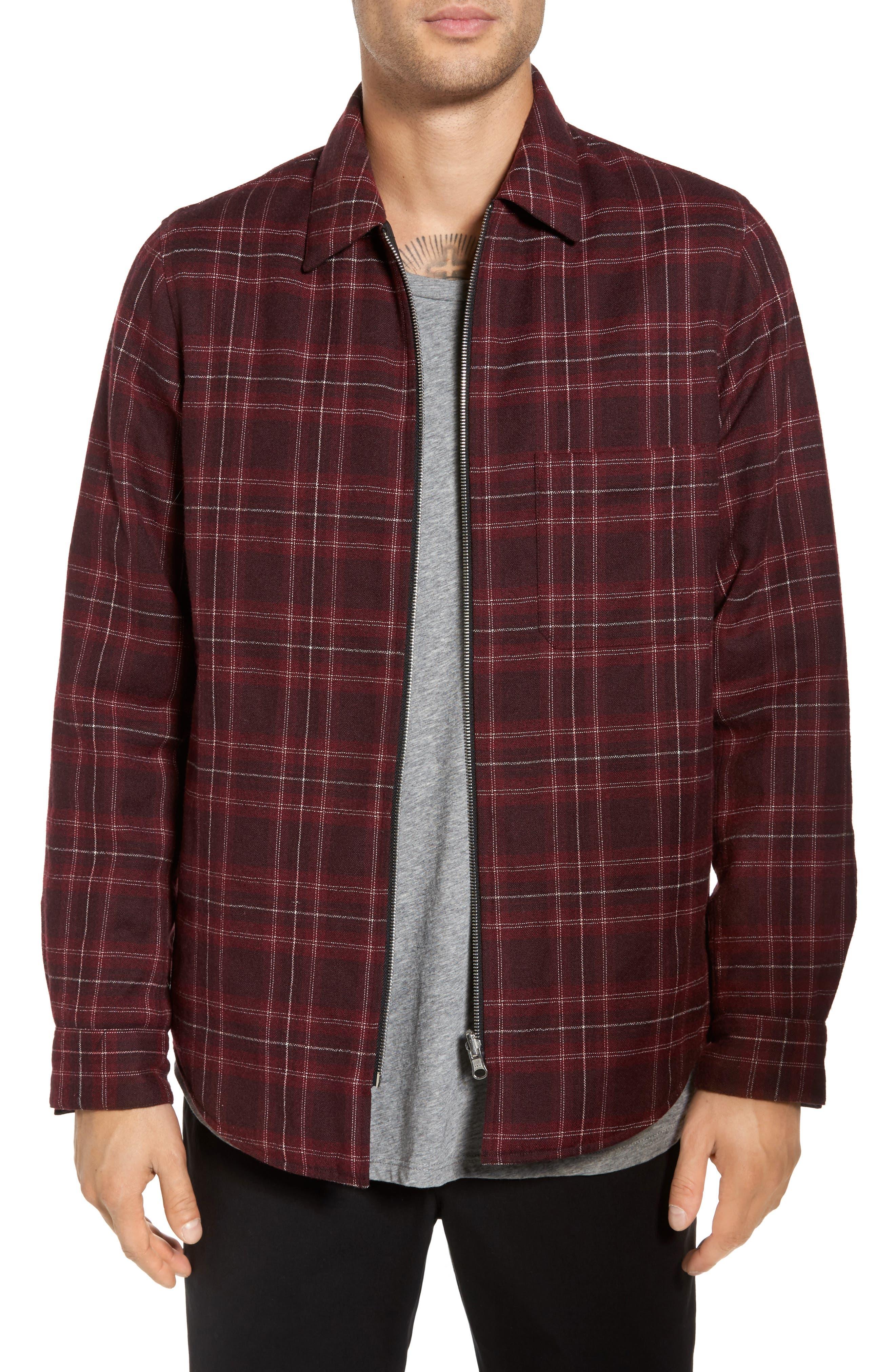 Reversible Zip Front Shirt Jacket,                         Main,                         color, Port Multi