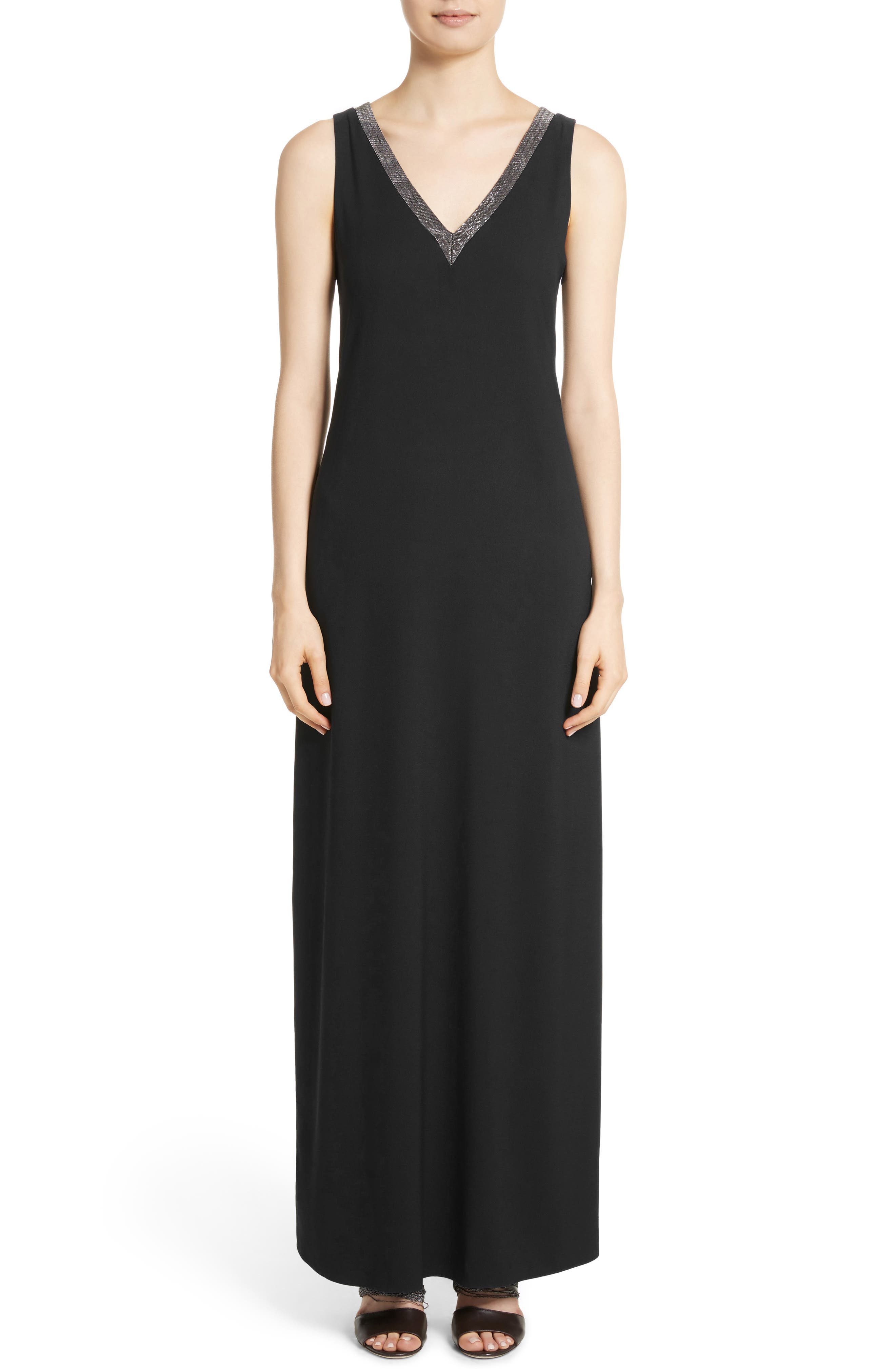 Beaded Maxi Dress,                             Main thumbnail 1, color,                             Black
