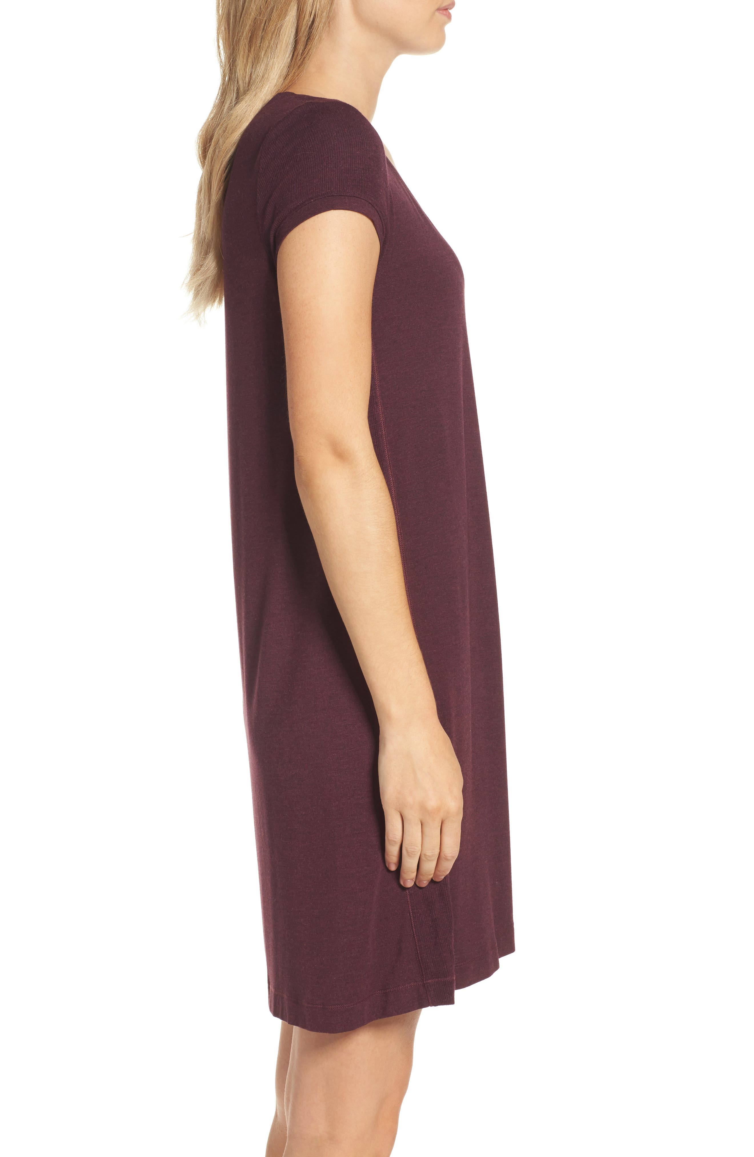 Jersey Nightgown,                             Alternate thumbnail 3, color,                             Burgundy