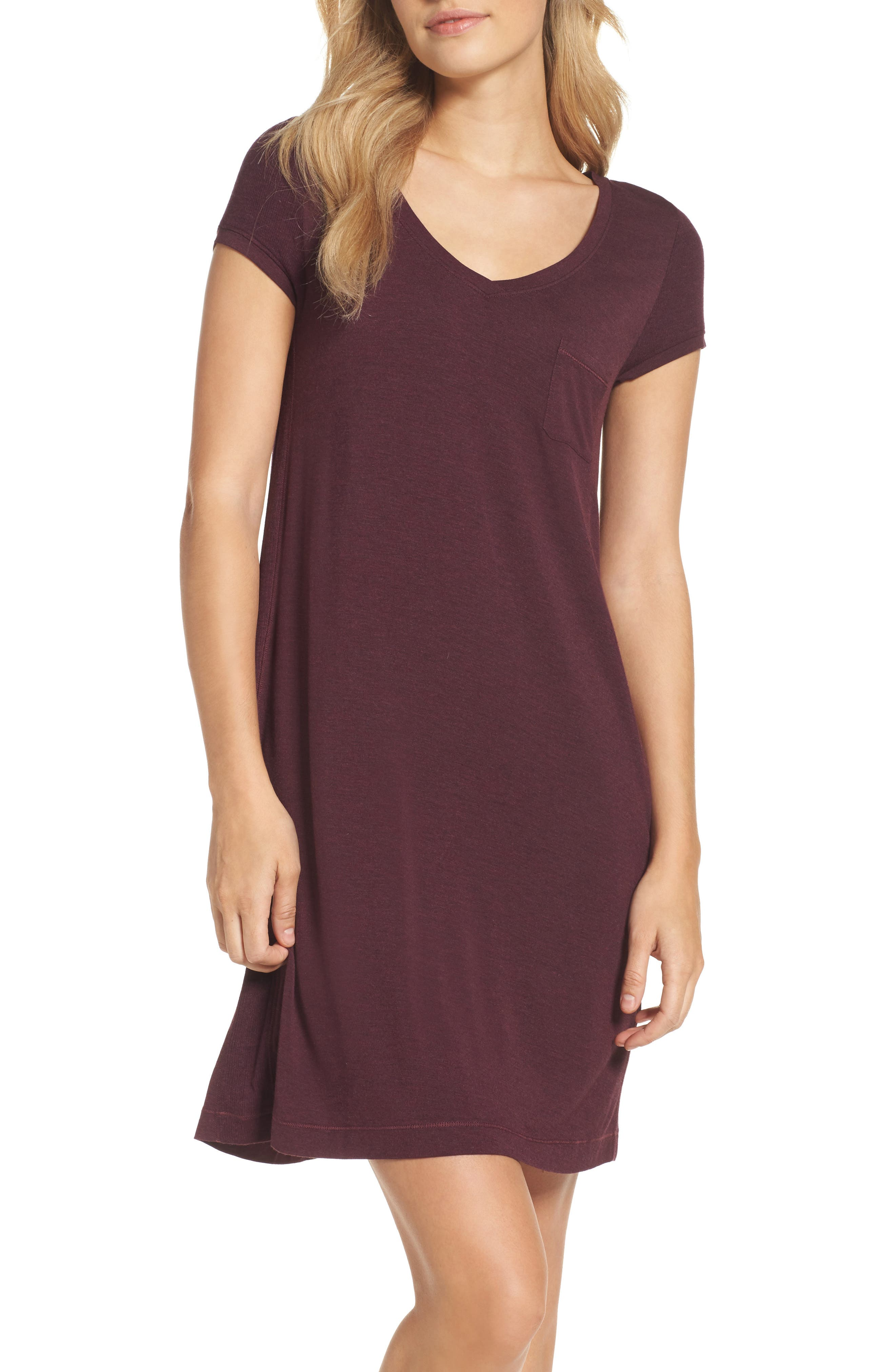 Jersey Nightgown,                             Main thumbnail 1, color,                             Burgundy